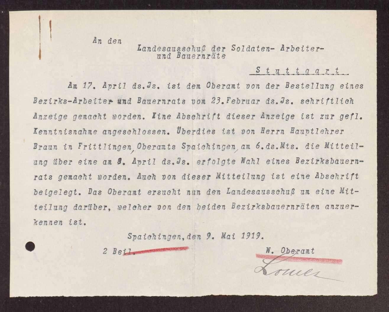 Wahl, Zusammensetzung und Auflösung der Arbeiter- und Bauernräte im Oberamt Spaichingen, Bild 3