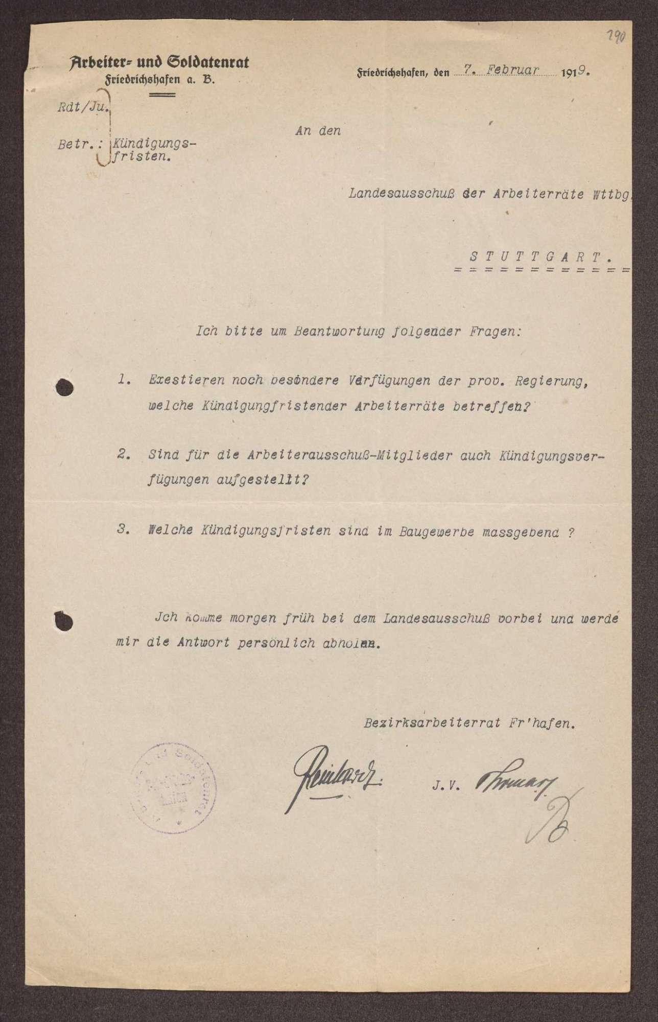 Wahl, Zusammensetzung und Auflösung der Arbeiter- und Bauernräte im Oberamt Tettnang, Bild 2