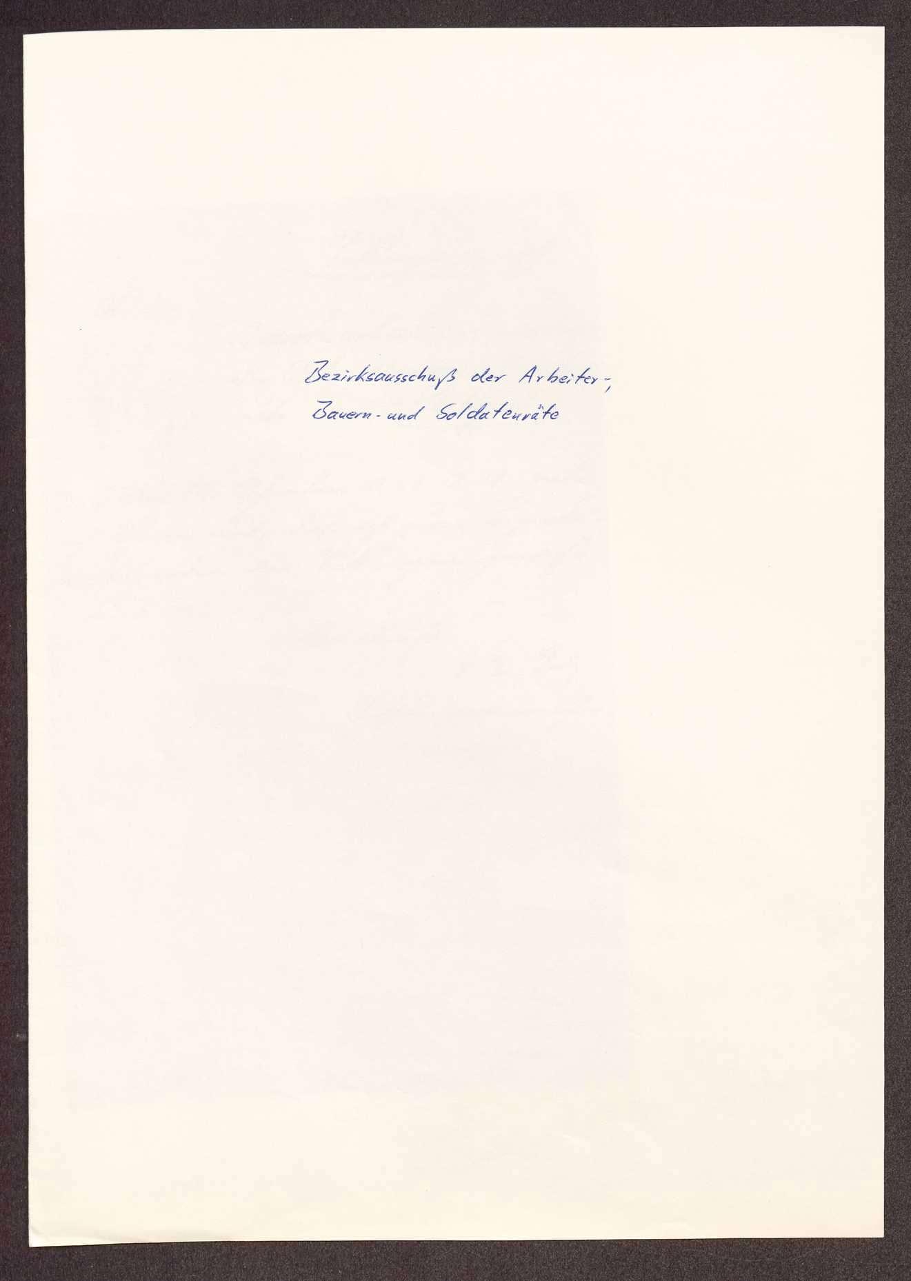 Wahl, Zusammensetzung und Auflösung der Arbeiter- und Bauernräte im Oberamt Tuttlingen, Bild 1