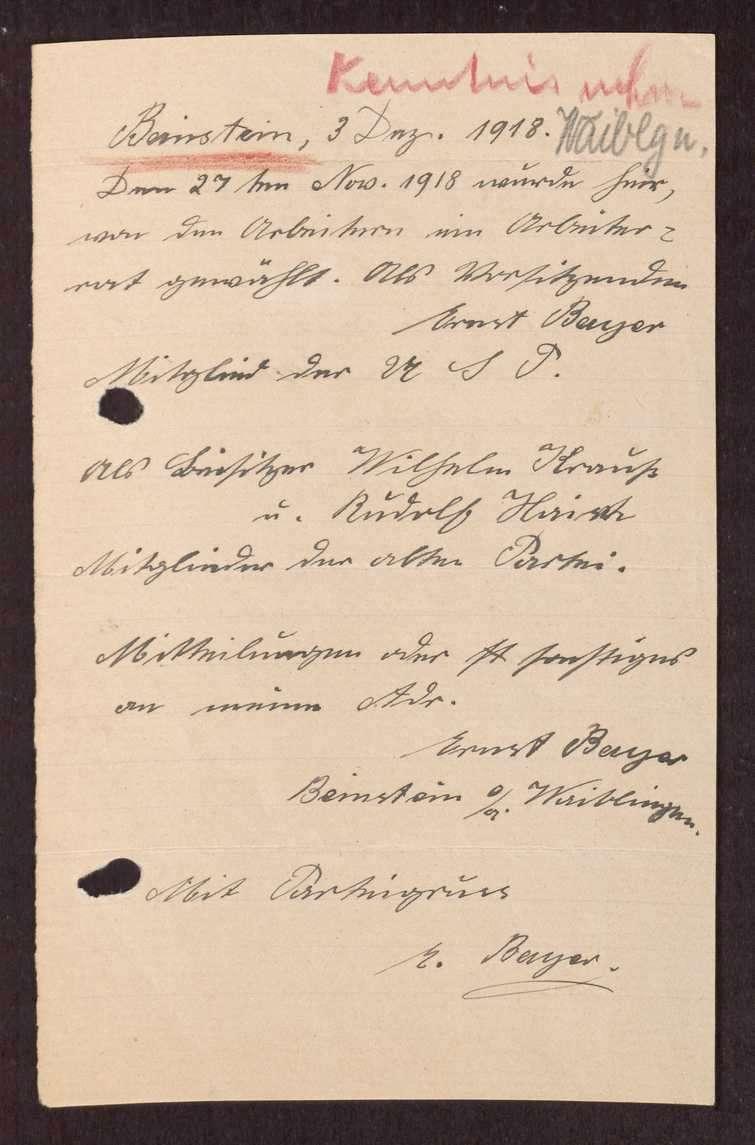Wahl, Zusammensetzung und Auflösung der Arbeiter- und Bauernräte im Oberamt Waiblingen, Bild 2