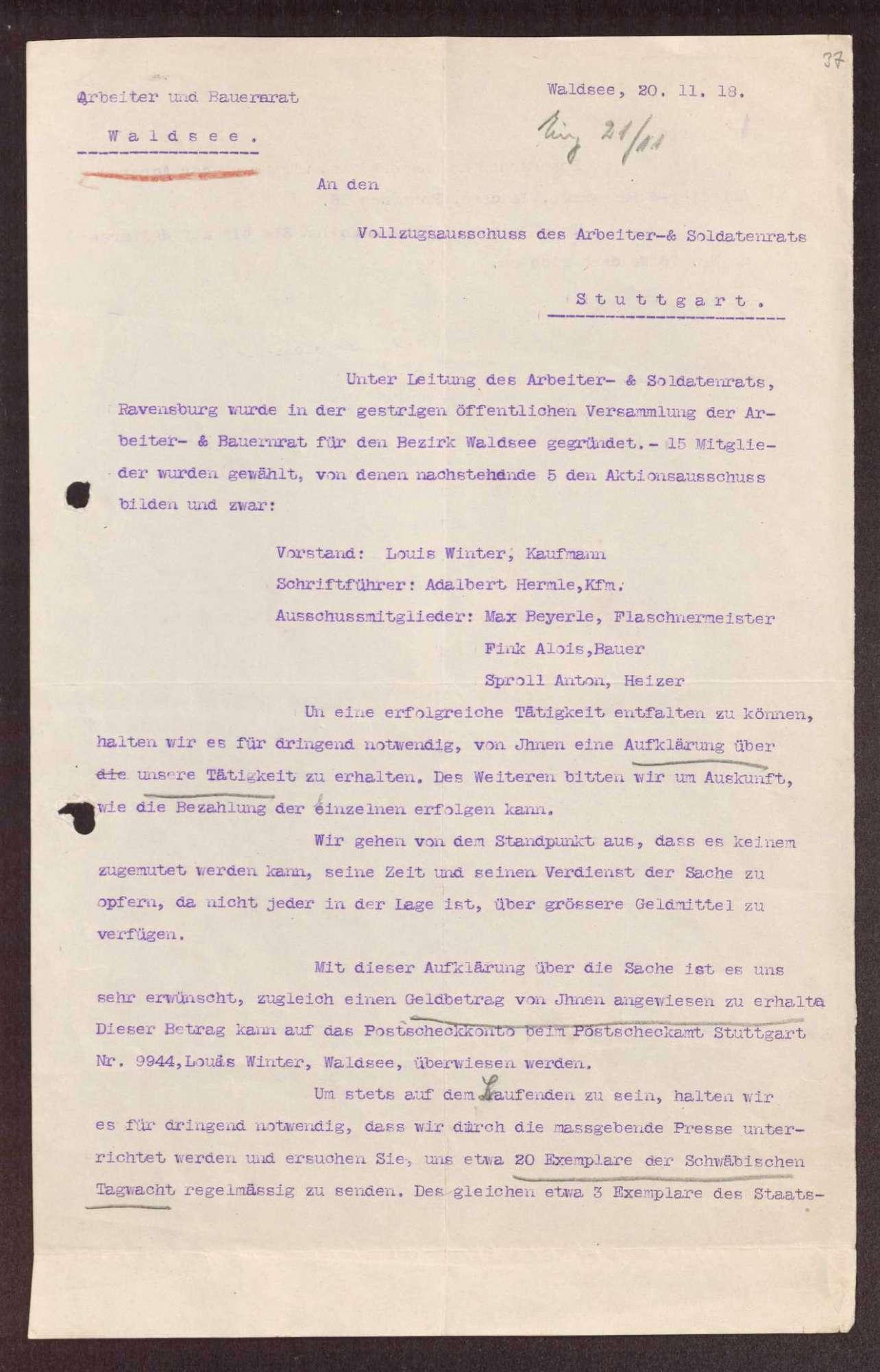 Wahl, Zusammensetzung und Auflösung der Arbeiter- und Bauernräte im Oberamt Waldsee, Bild 2