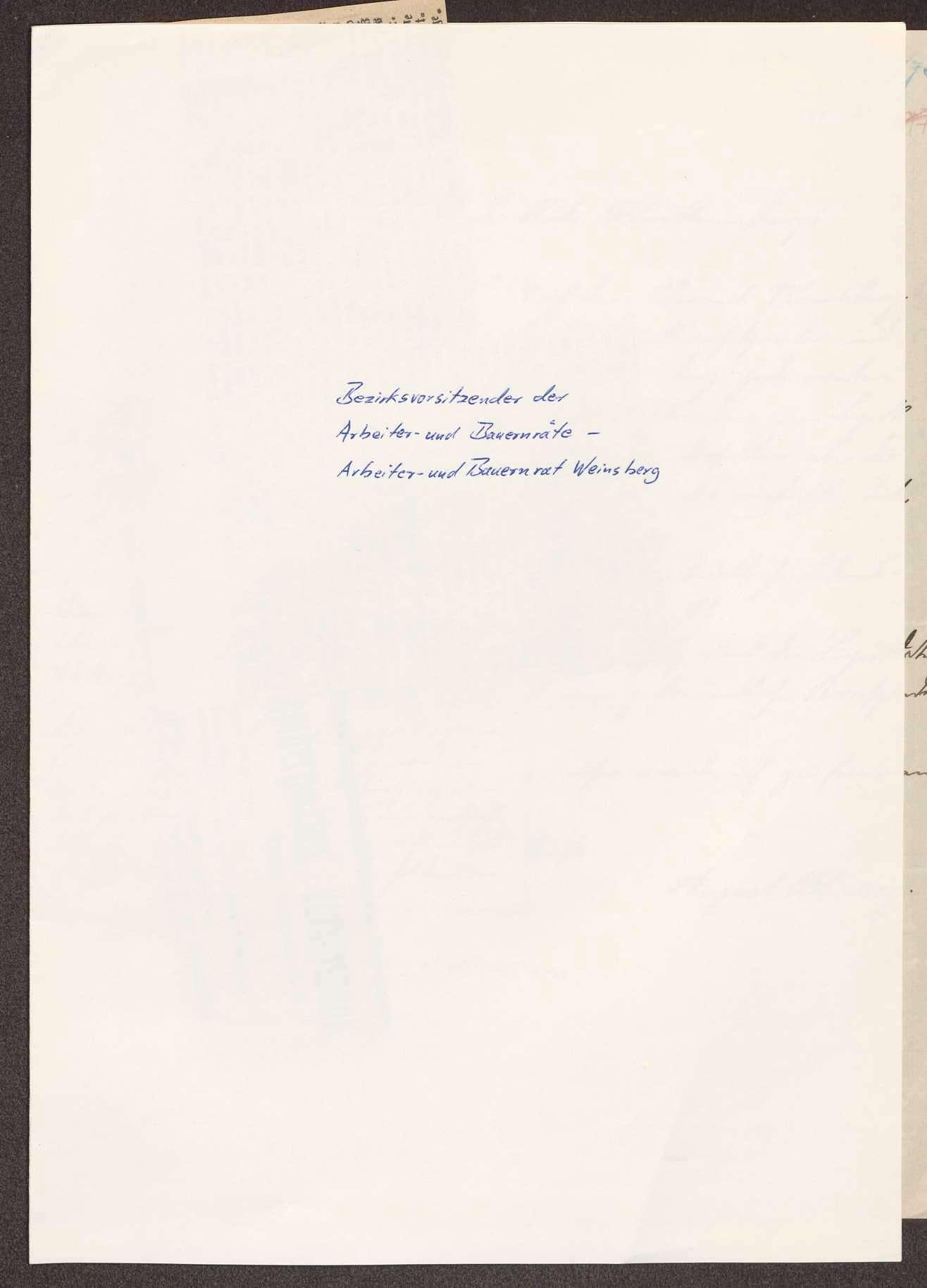 Wahl, Zusammensetzung und Auflösung der Arbeiter- und Bauernräte im Oberamt Weinsberg, Bild 1
