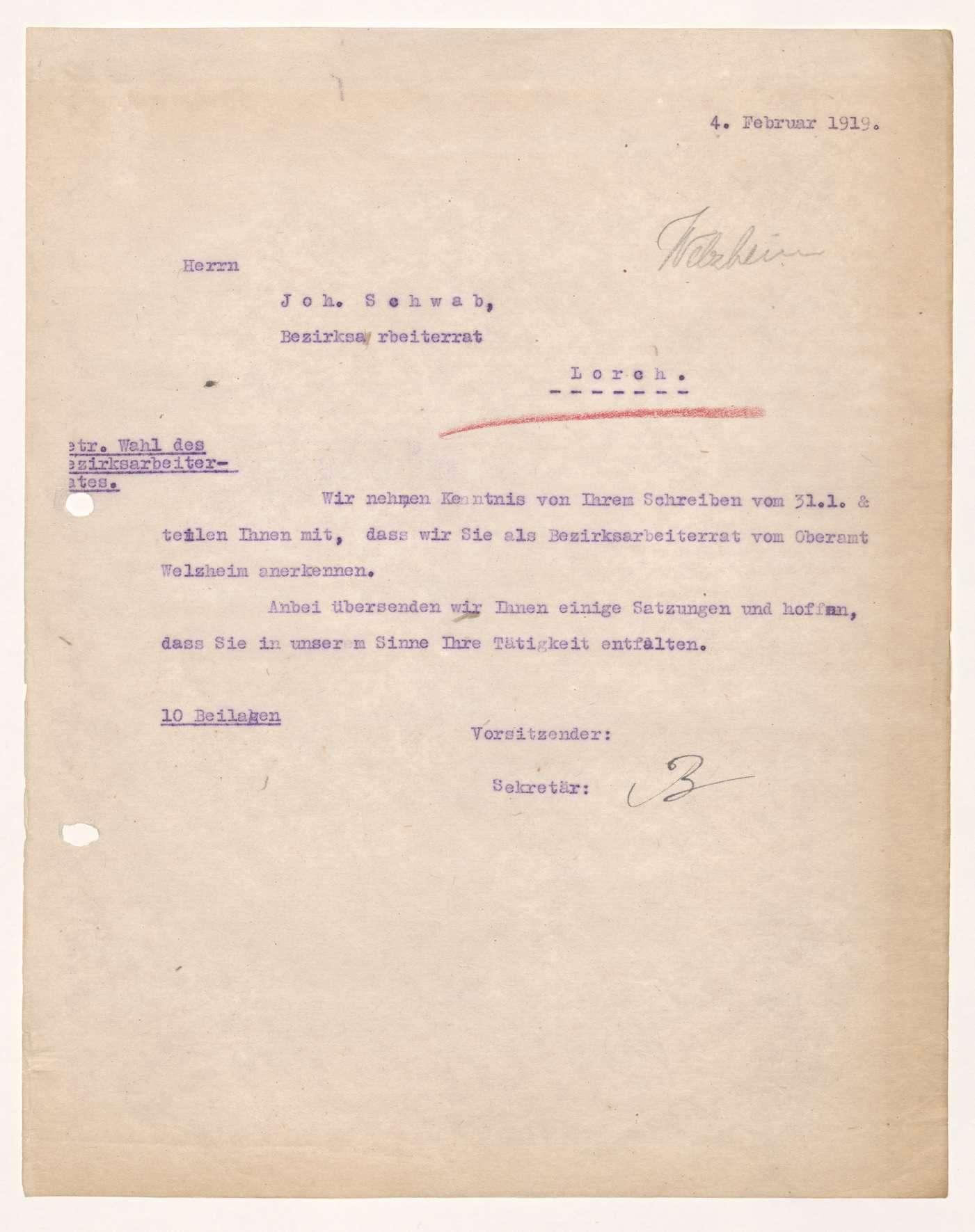 Wahl, Zusammensetzung und Auflösung der Arbeiter- und Bauernräte im Oberamt Welzheim, Bild 3