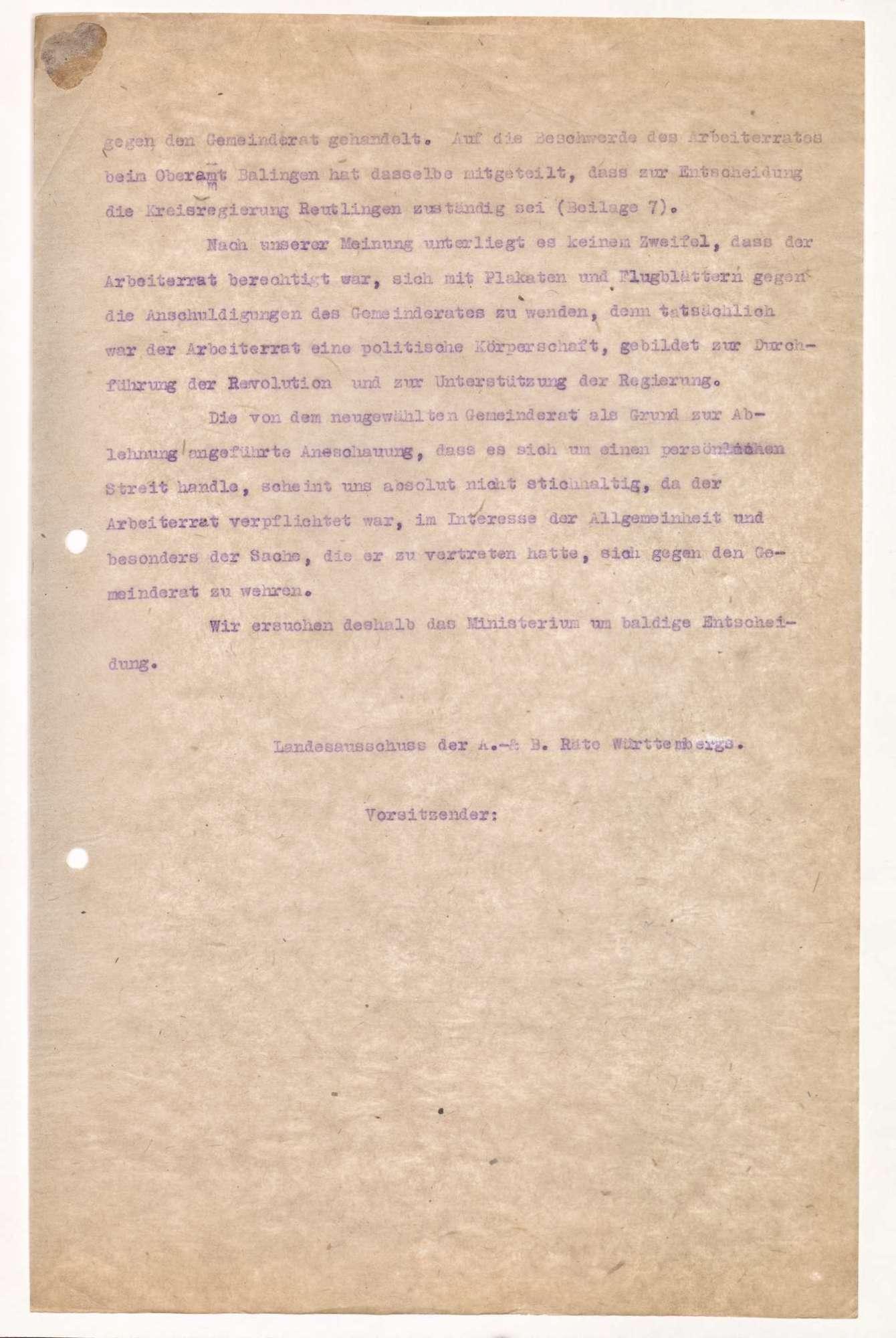Finanzierung und Rechnungslegung örtlicher Arbeiter- und Bauernräte im Oberamt Balingen, Bild 3