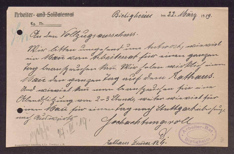 Finanzierung und Rechnungslegung örtlicher Arbeiter- und Bauernräte im Oberamt Besigheim, Bild 2