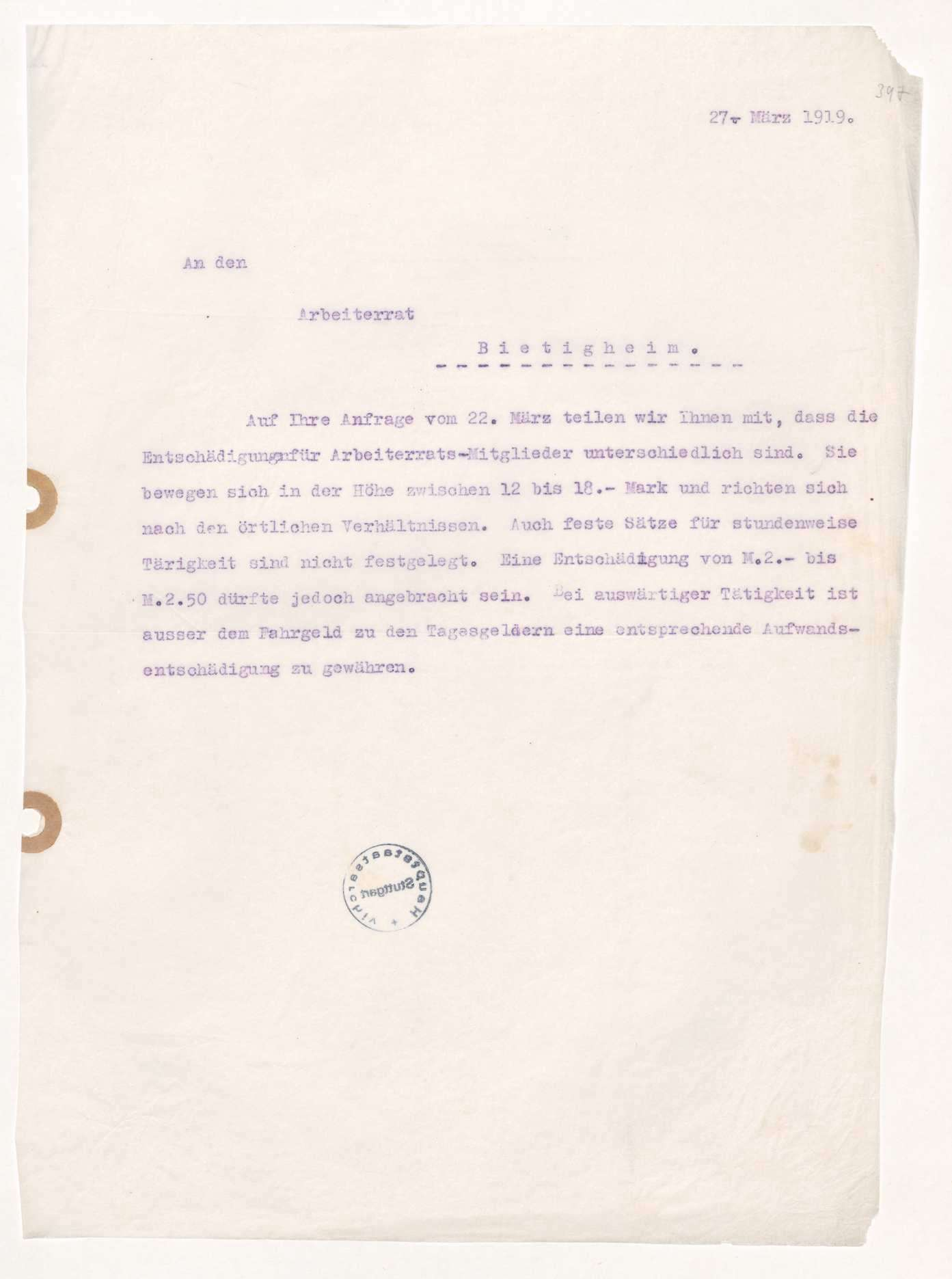 Finanzierung und Rechnungslegung örtlicher Arbeiter- und Bauernräte im Oberamt Besigheim, Bild 3