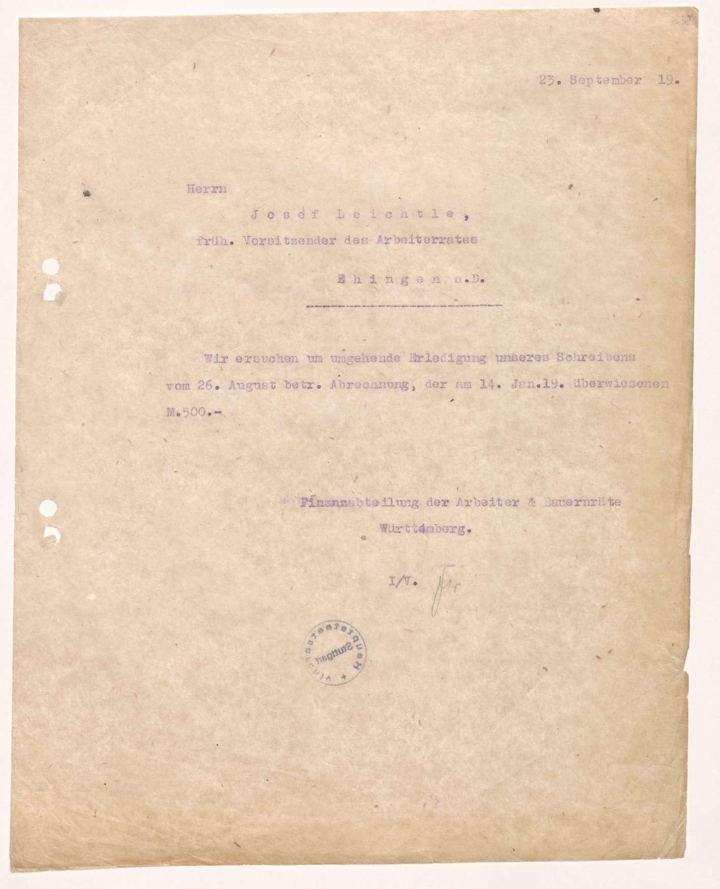 Finanzierung und Rechnungslegung örtlicher Arbeiter- und Bauernräte im Oberamt Ehingen, Bild 3