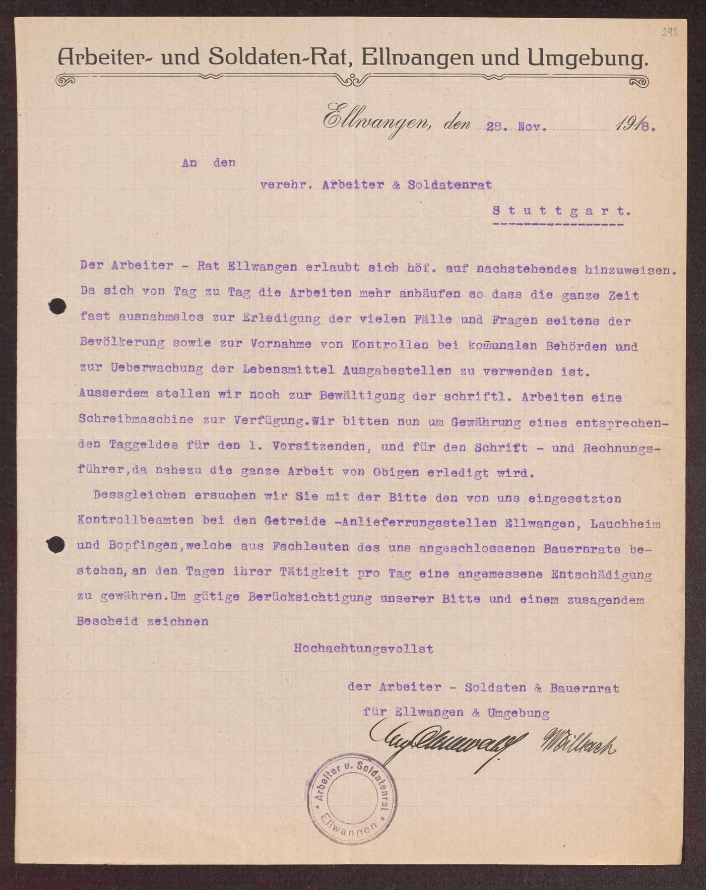 Finanzierung und Rechnungslegung örtlicher Arbeiter- und Bauernräte im Oberamt Ellwangen, Bild 2