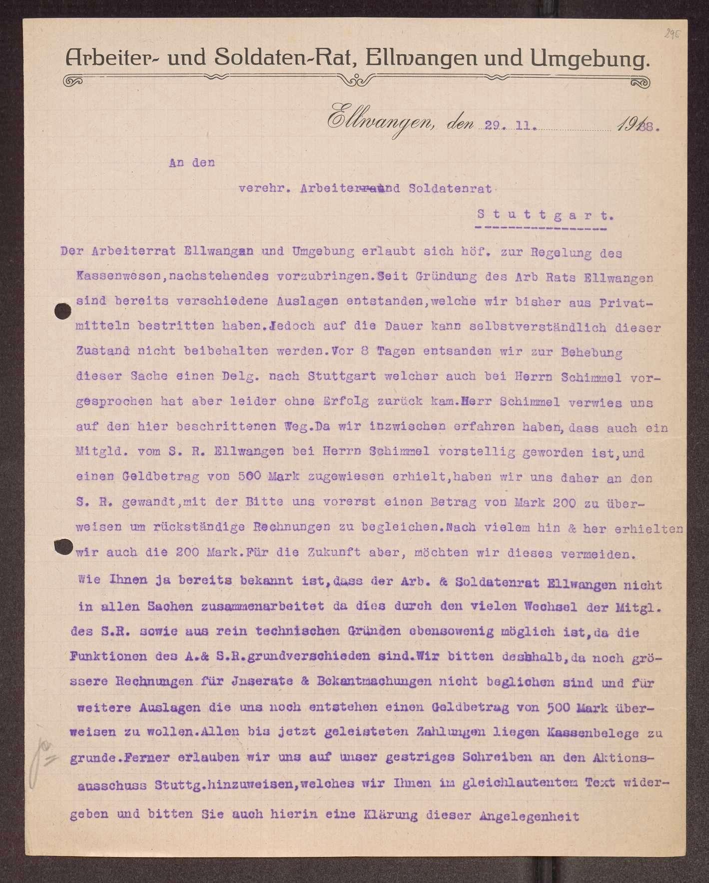 Finanzierung und Rechnungslegung örtlicher Arbeiter- und Bauernräte im Oberamt Ellwangen, Bild 3