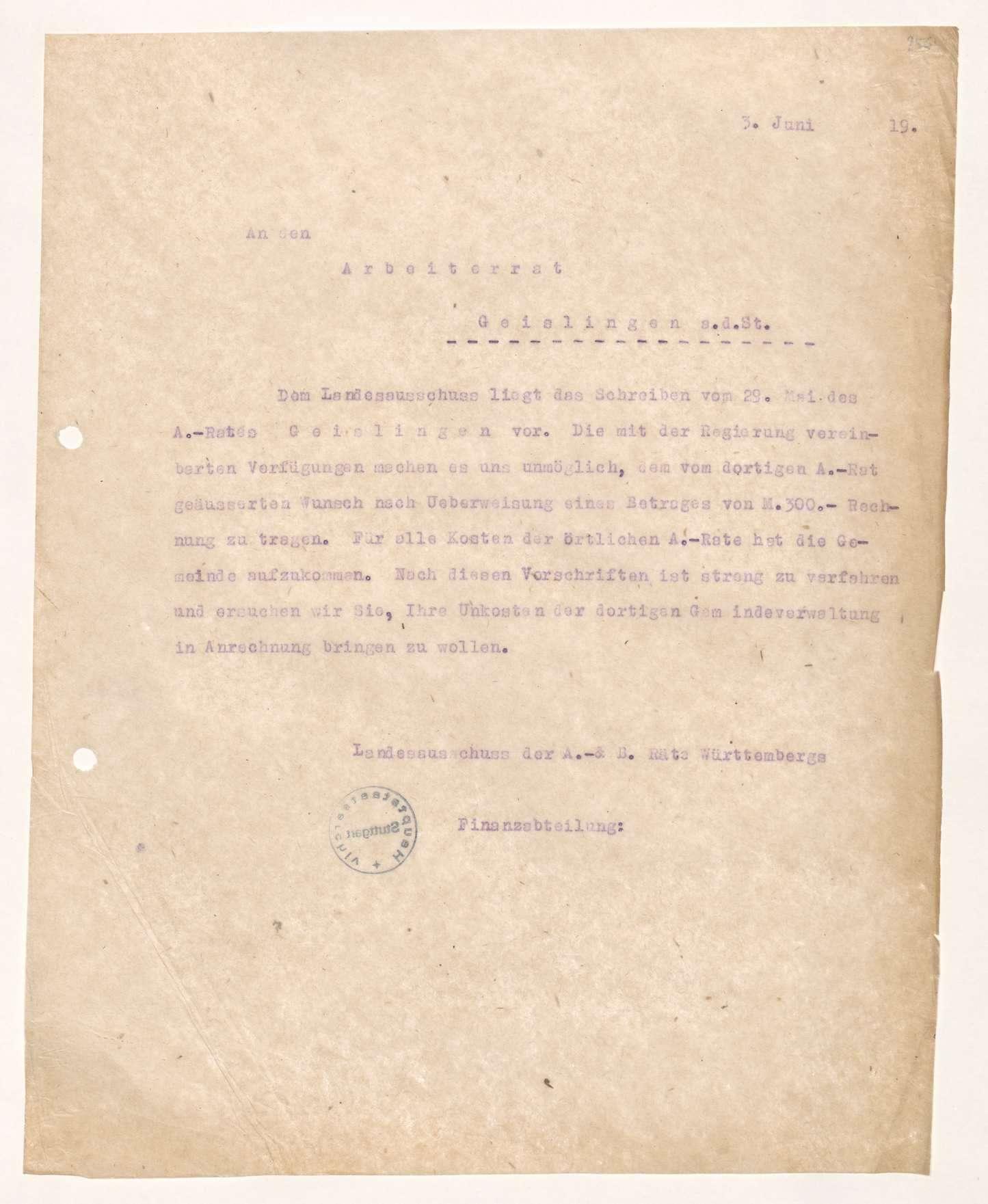 Finanzierung und Rechnungslegung örtlicher Arbeiter- und Bauernräte im Oberamt Geislingen, Bild 3