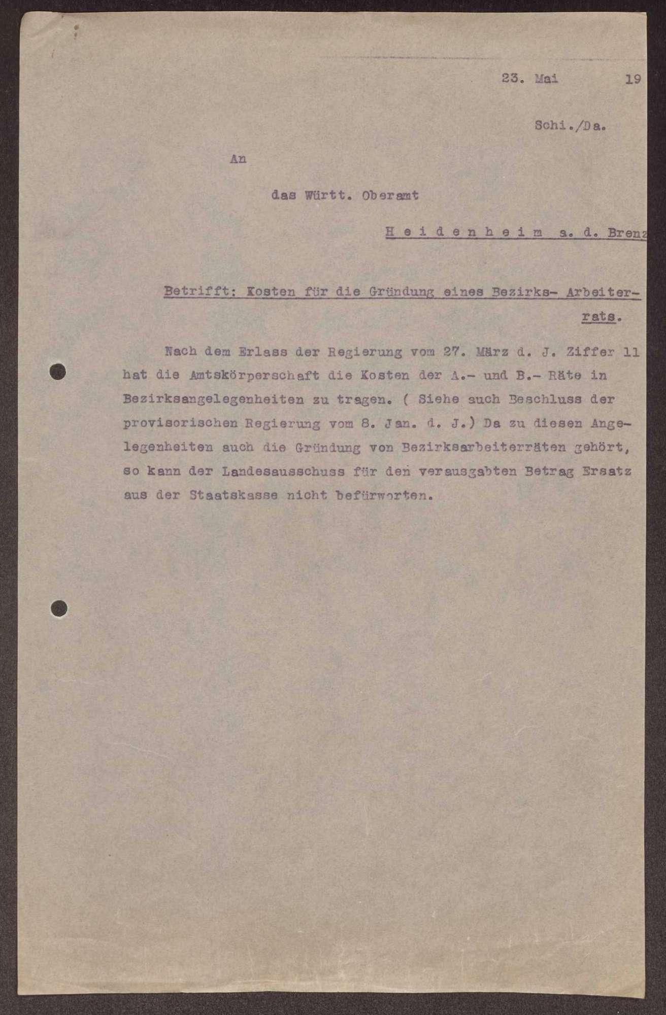 Finanzierung und Rechnungslegung örtlicher Arbeiter- und Bauernräte im Oberamt Heidenheim, Bild 3