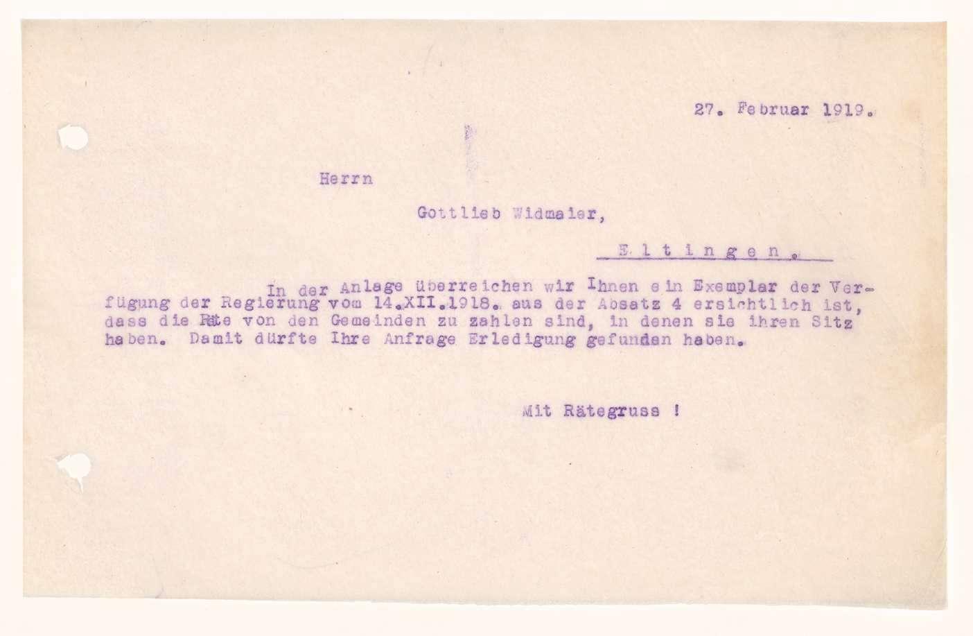 Finanzierung und Rechnungslegung örtlicher Arbeiter- und Bauernräte im Oberamt Leonberg, Bild 3