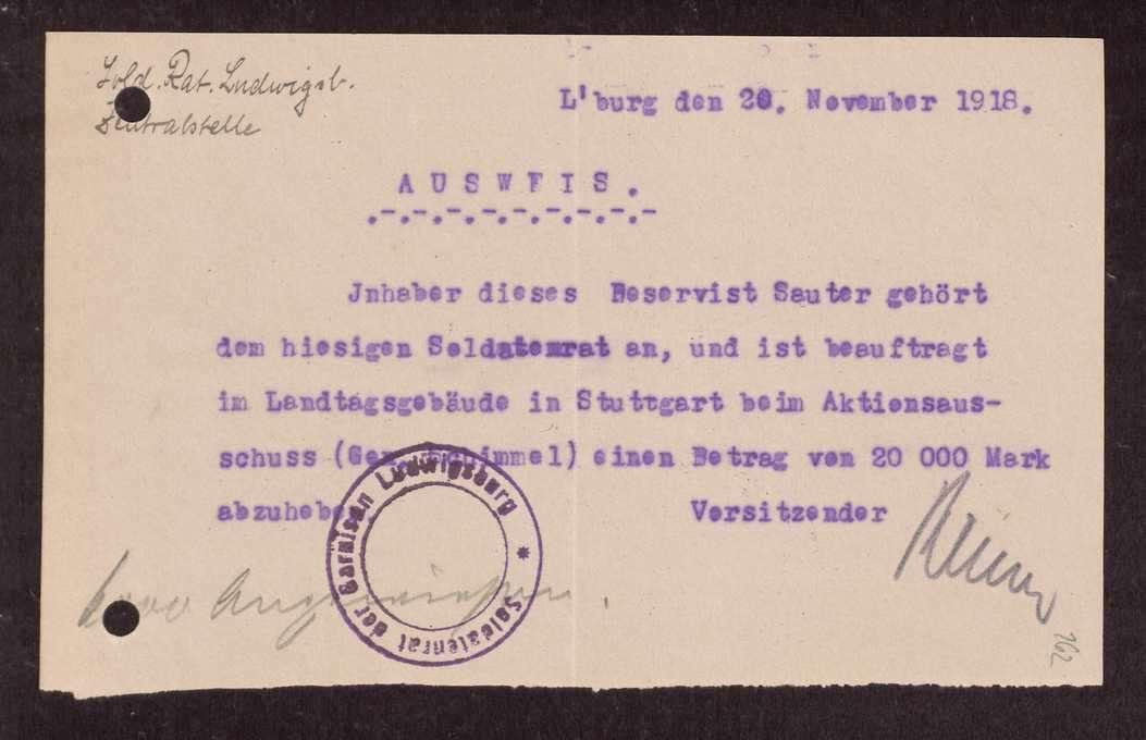 Finanzierung und Rechnungslegung örtlicher Arbeiter- und Bauernräte im Oberamt Ludwigsburg, Bild 2