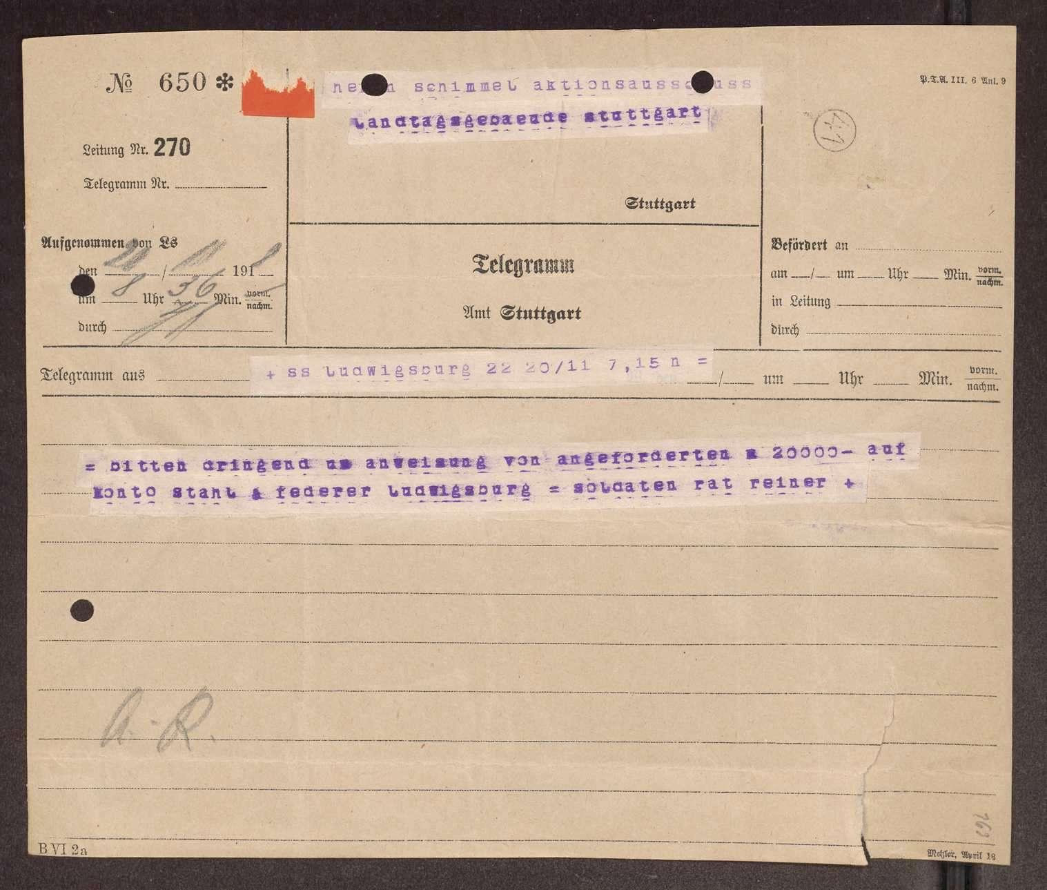 Finanzierung und Rechnungslegung örtlicher Arbeiter- und Bauernräte im Oberamt Ludwigsburg, Bild 3