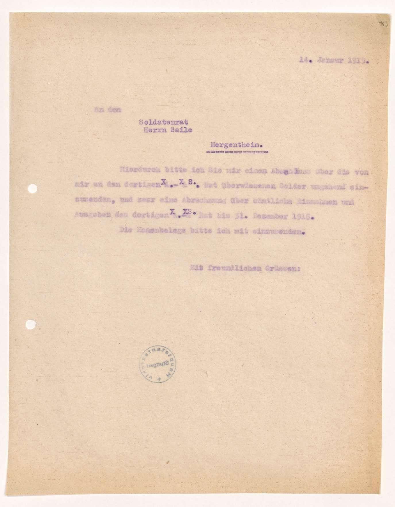 Finanzierung und Rechnungslegung örtlicher Arbeiter- und Bauernräte im Oberamt Mergentheim, Bild 2