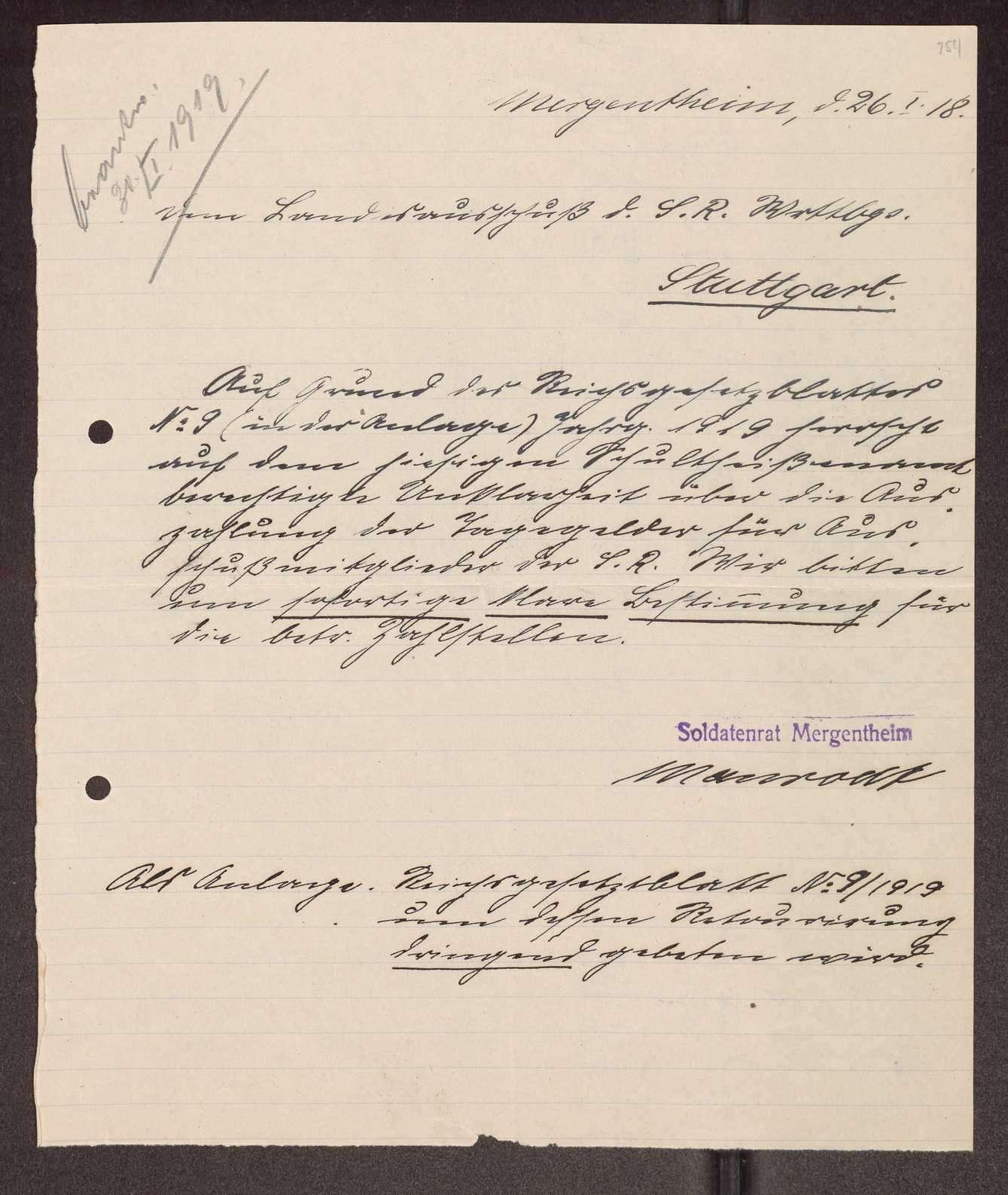 Finanzierung und Rechnungslegung örtlicher Arbeiter- und Bauernräte im Oberamt Mergentheim, Bild 3