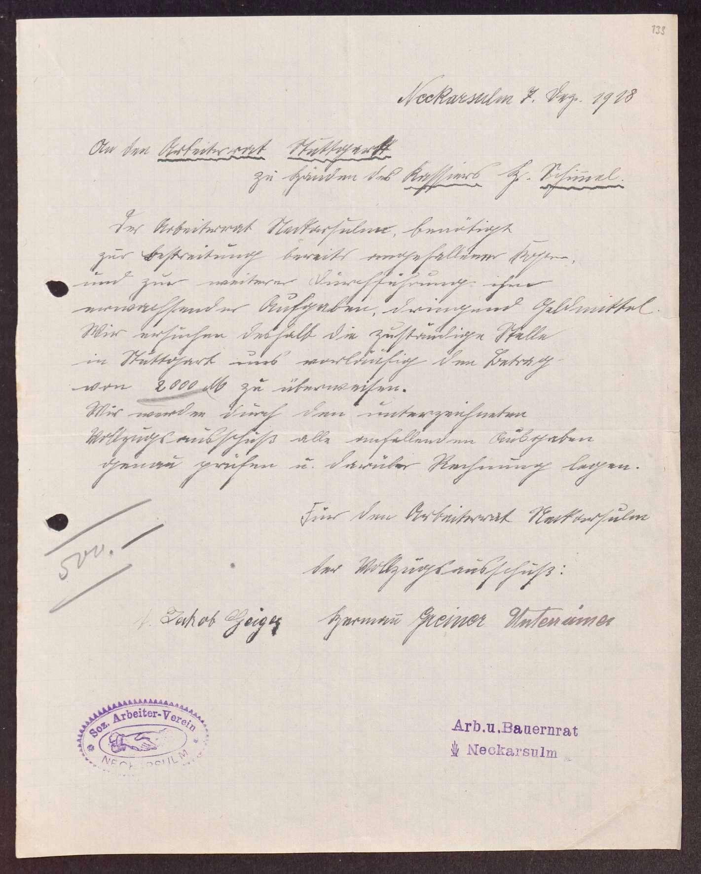 Finanzierung und Rechnungslegung örtlicher Arbeiter- und Bauernräte im Oberamt Neckarsulm, Bild 2