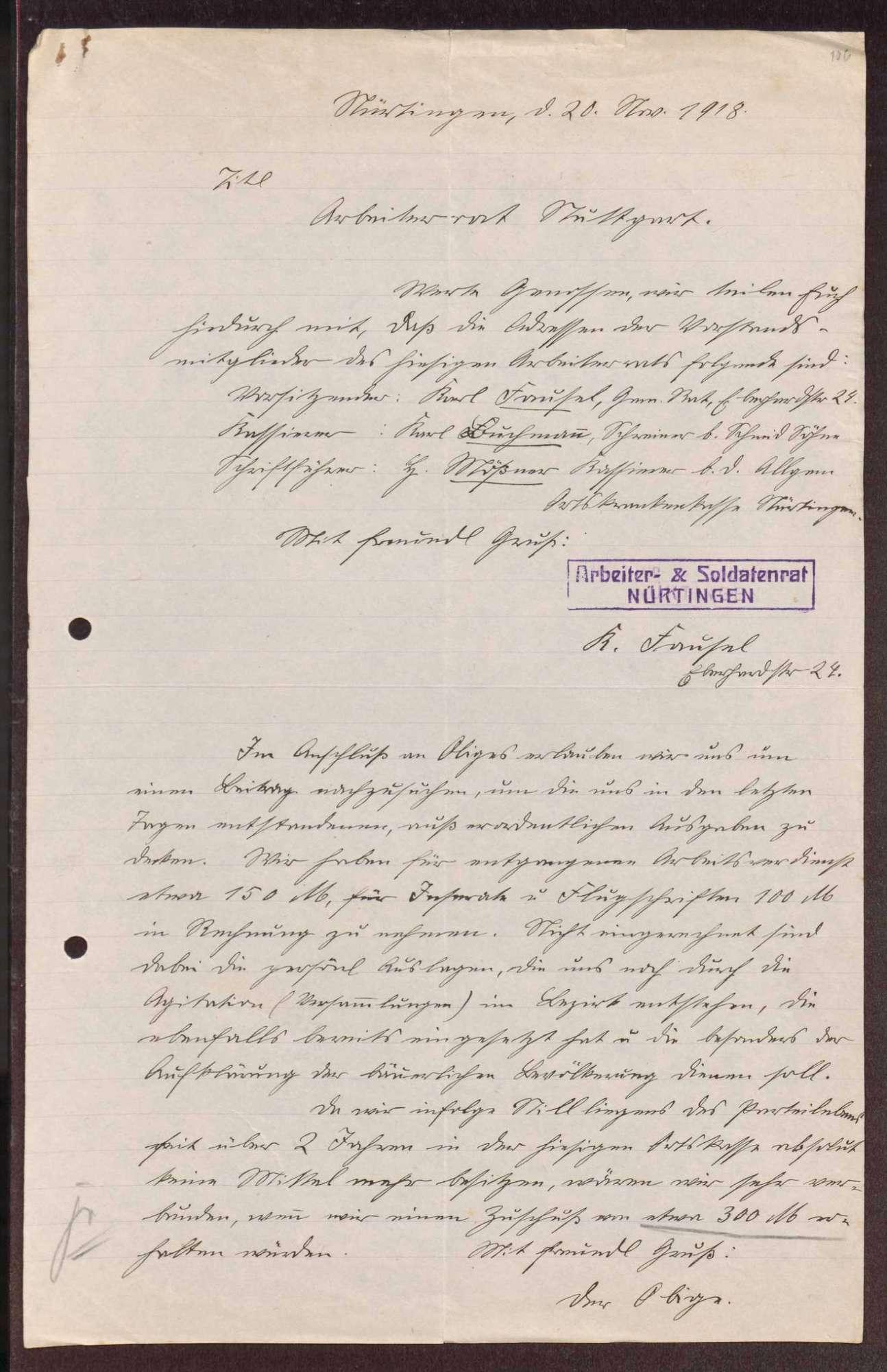 Finanzierung und Rechnungslegung örtlicher Arbeiter- und Bauernräte im Oberamt Nürtingen, Bild 2