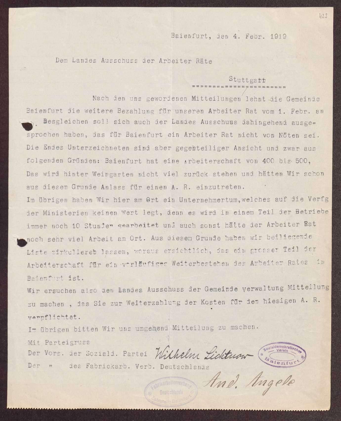 Finanzierung und Rechnungslegung örtlicher Arbeiter- und Bauernräte im Oberamt Ravensburg, Bild 3