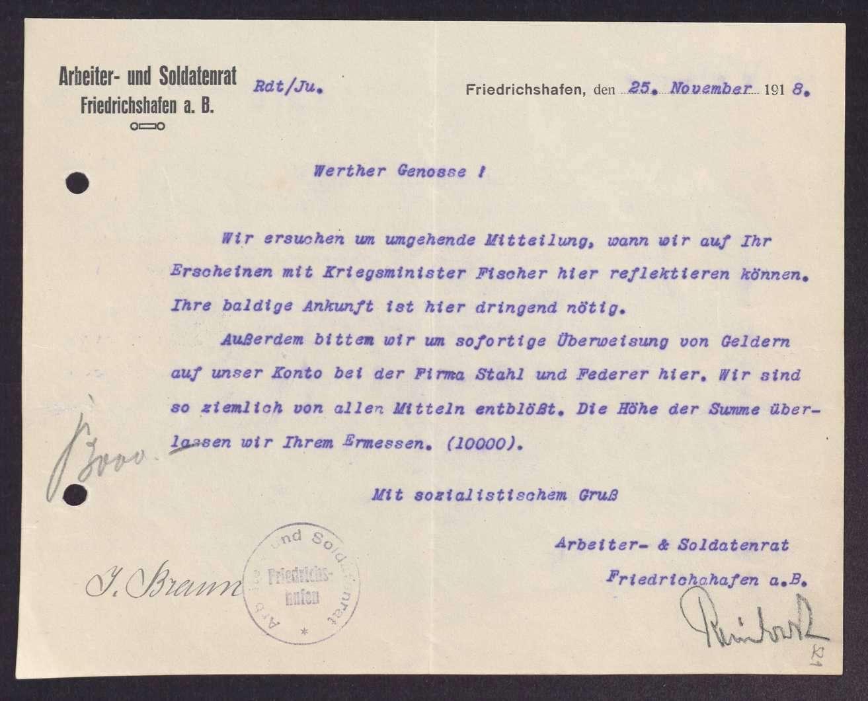 Finanzierung und Rechnungslegung örtlicher Arbeiter- und Bauernräte im Oberamt Tettnang, Bild 2
