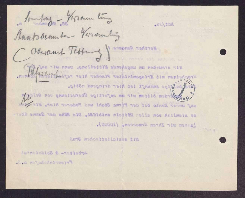 Finanzierung und Rechnungslegung örtlicher Arbeiter- und Bauernräte im Oberamt Tettnang, Bild 3