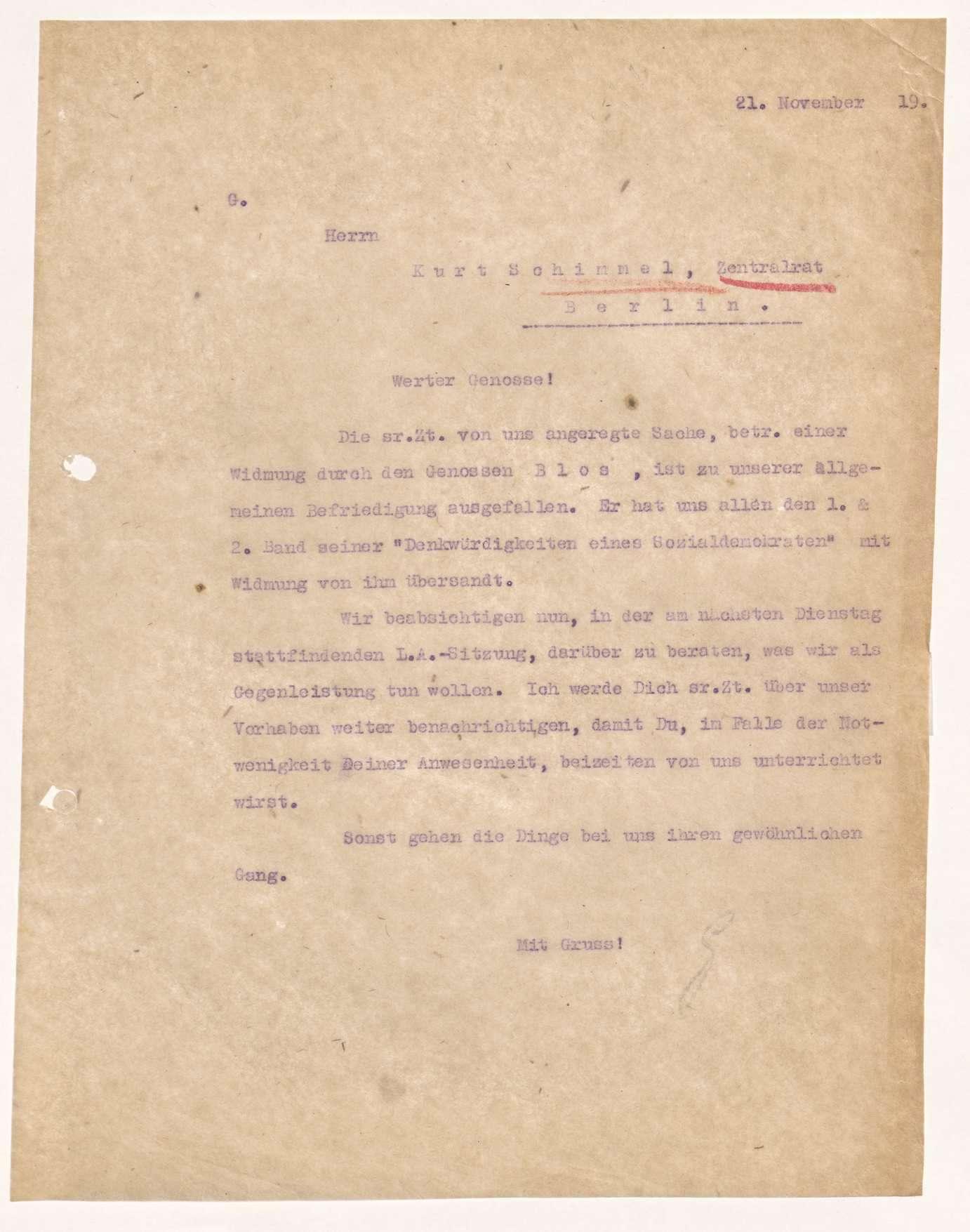 Anerkennung für Staatspräsident Blos als Gegenleistung für sein Buchgeschenk an den Landesausschuss, Bild 1