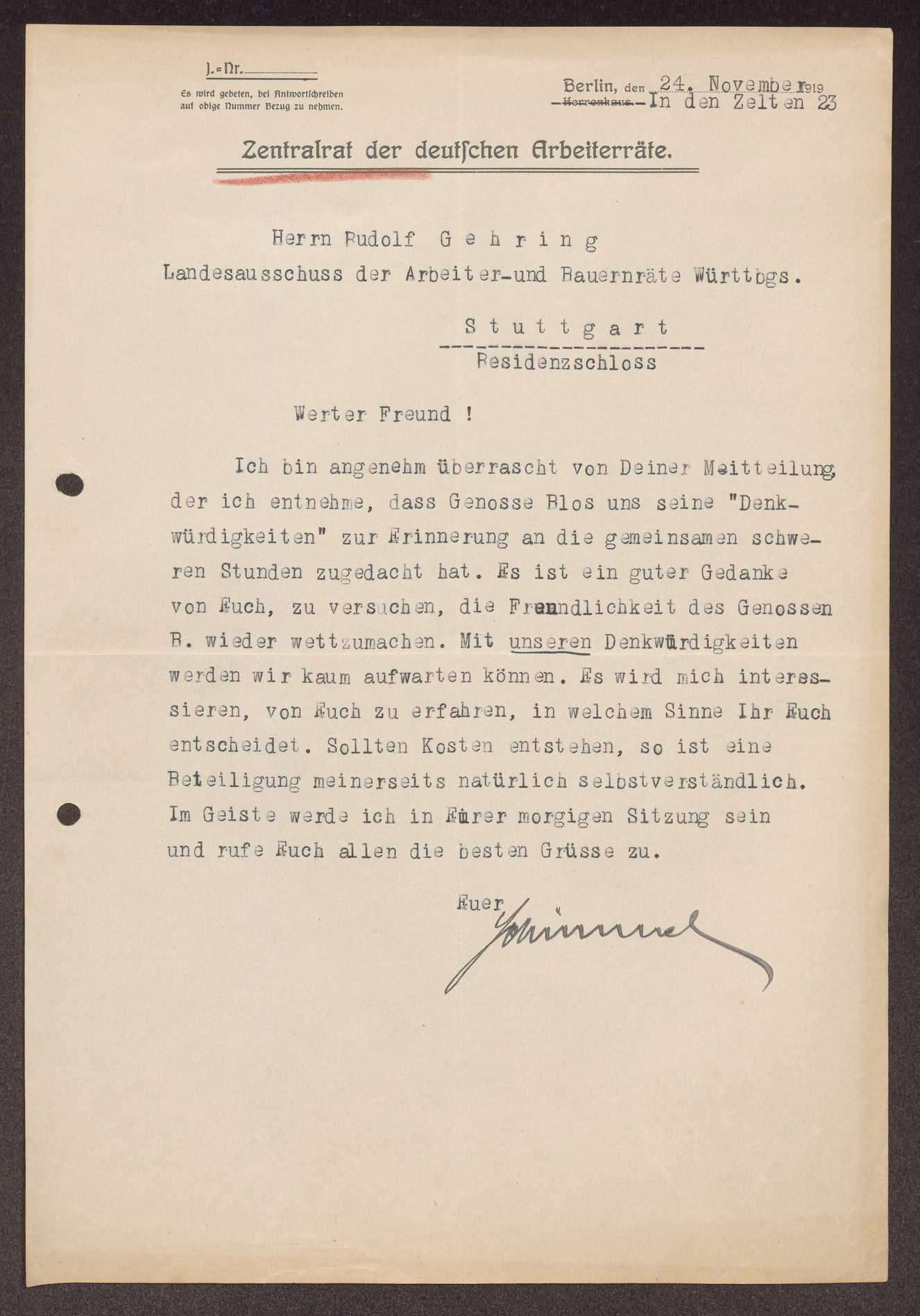 Anerkennung für Staatspräsident Blos als Gegenleistung für sein Buchgeschenk an den Landesausschuss, Bild 2