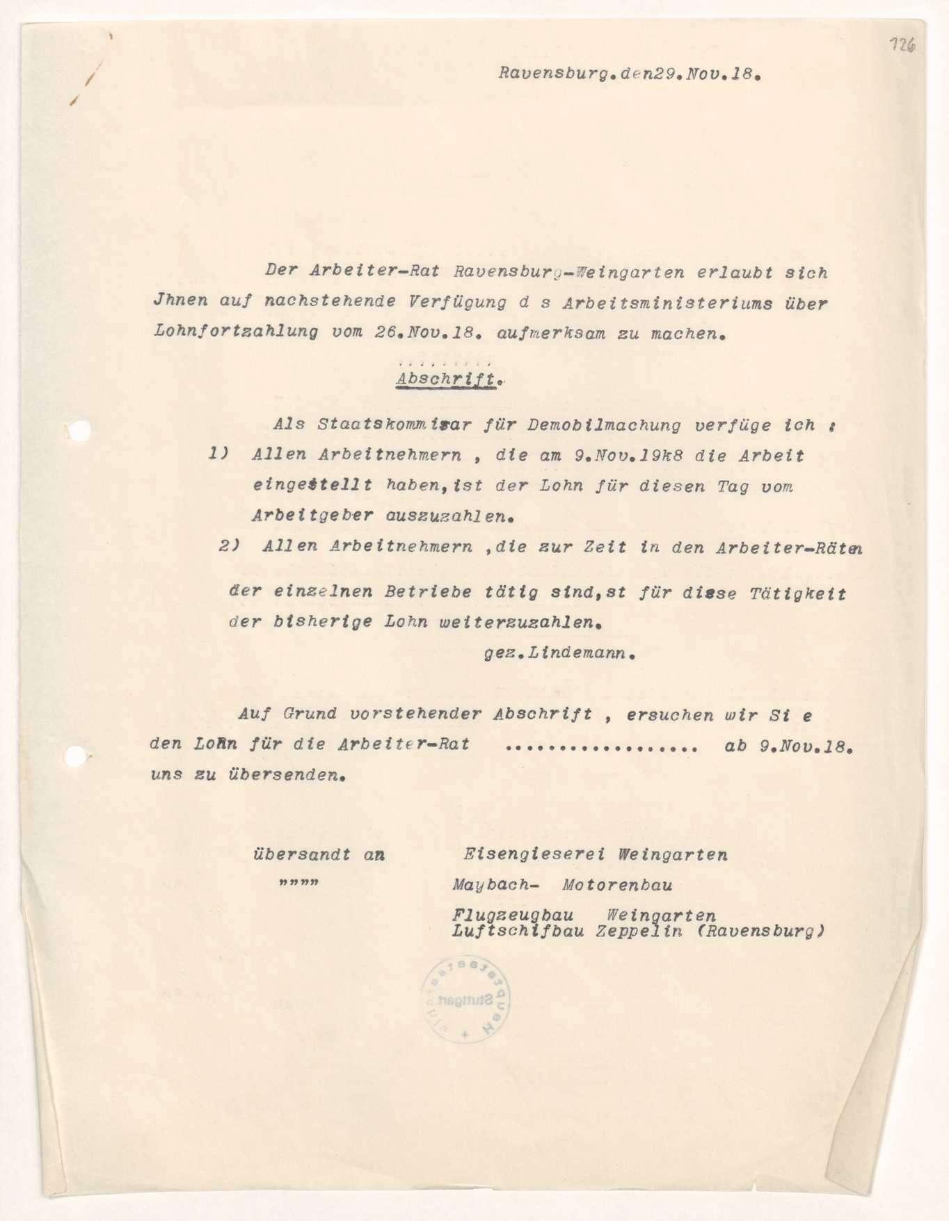 Besoldung der Arbeiterräte in Ravensburg, Bild 1