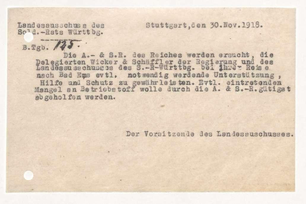 Ausweis der württembergischen Delegierten Fridolin Wicker und Albert Schäffler zur Teilnahme am Vertretertag der Soldatenräte des Feldheeres in Bad Ems, Bild 1