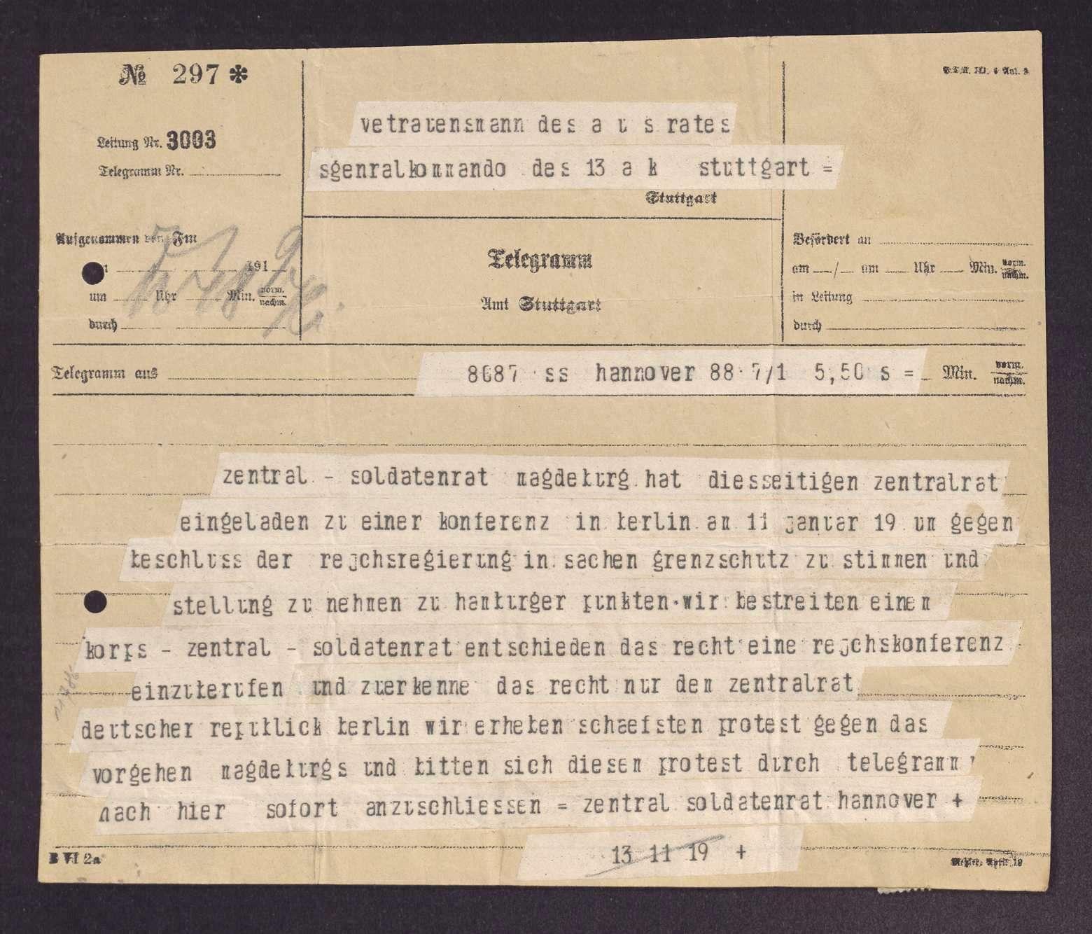 Einladung und Resolution des Kongresses der Armeekorps-Soldatenräte in Berlin, Bild 1