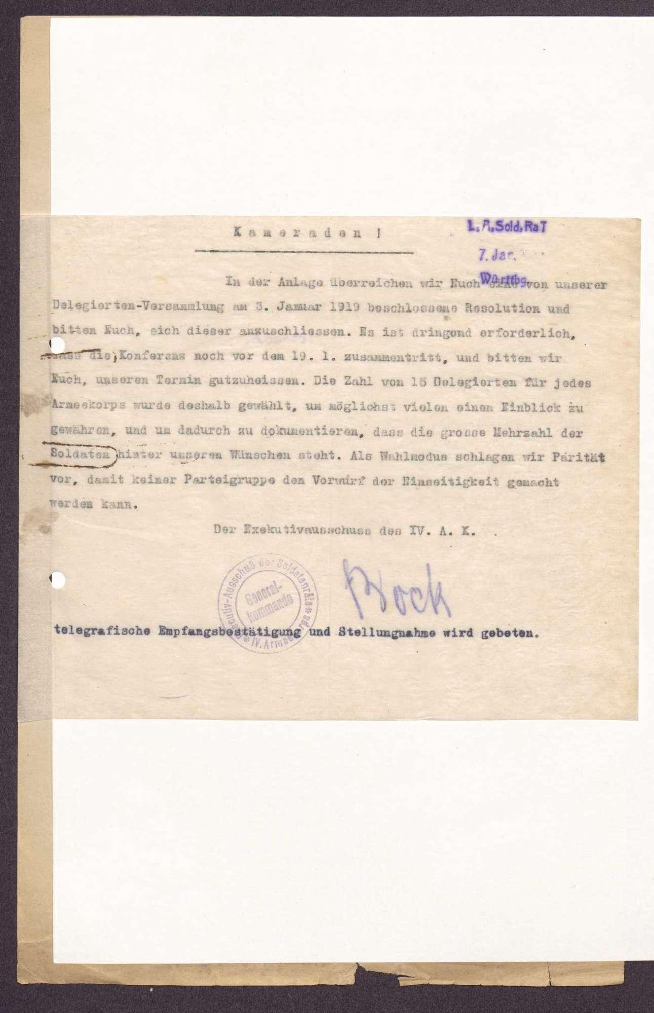 Einladung und Resolution des Kongresses der Armeekorps-Soldatenräte in Berlin, Bild 2