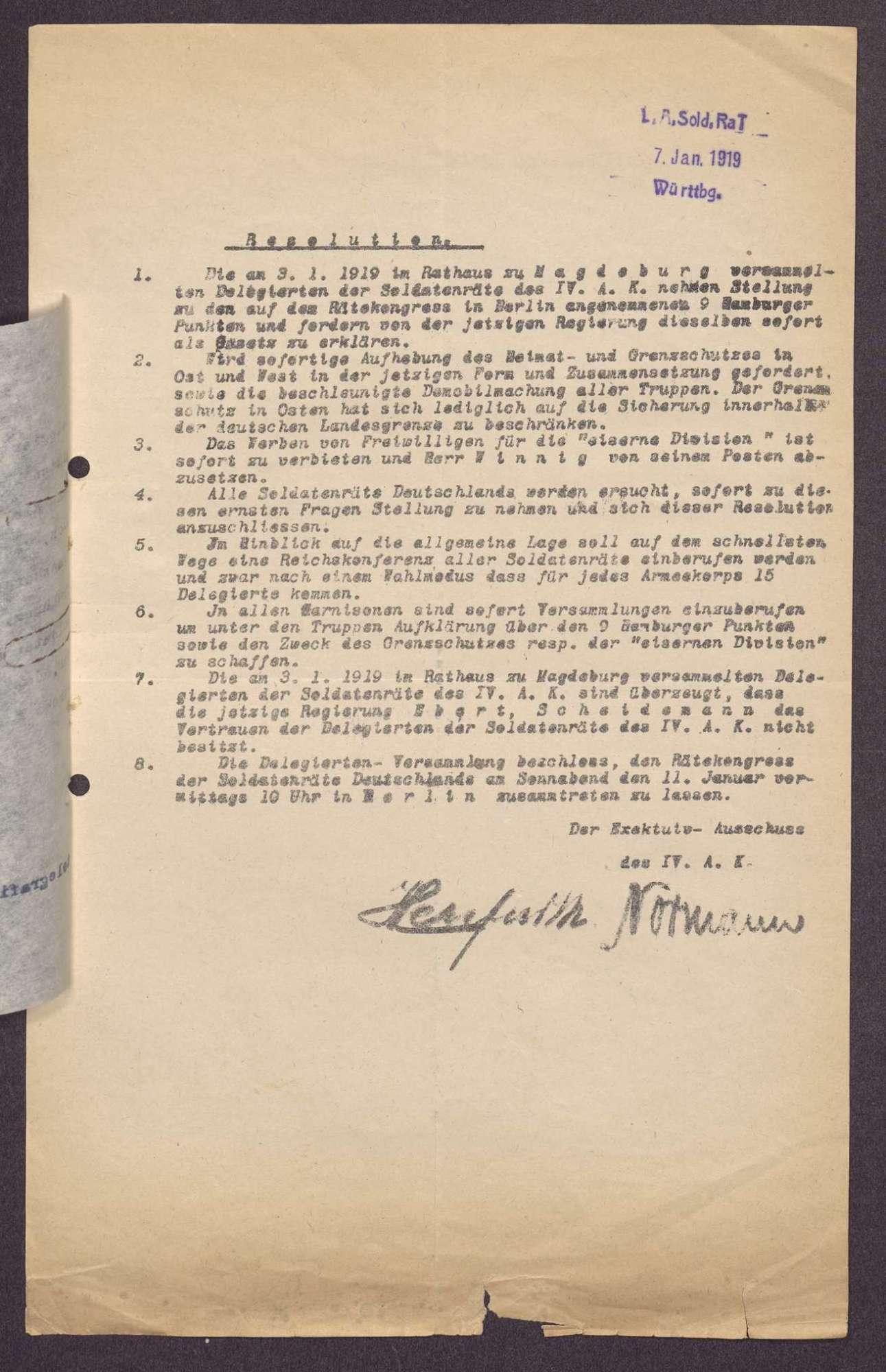 Einladung und Resolution des Kongresses der Armeekorps-Soldatenräte in Berlin, Bild 3