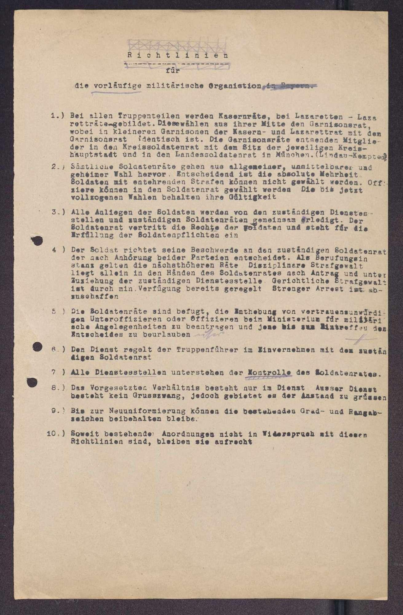 Bestimmungen für die Soldatenräte und den militärischen Dienstbetrieb in Bayern, Richtlinien für die Propagandaabteilung des Landessoldatenrats, Entwürfe zu einer Eingliederung der Räte in die Verfassung, Bild 3