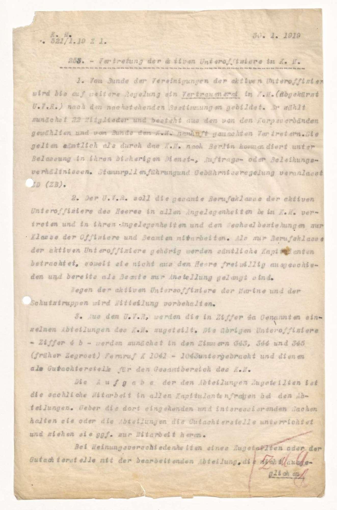 Kompetenzen des Vertrauensrates der aktiven Unteroffiziere im Preußischen Kriegsministerium, Bild 1