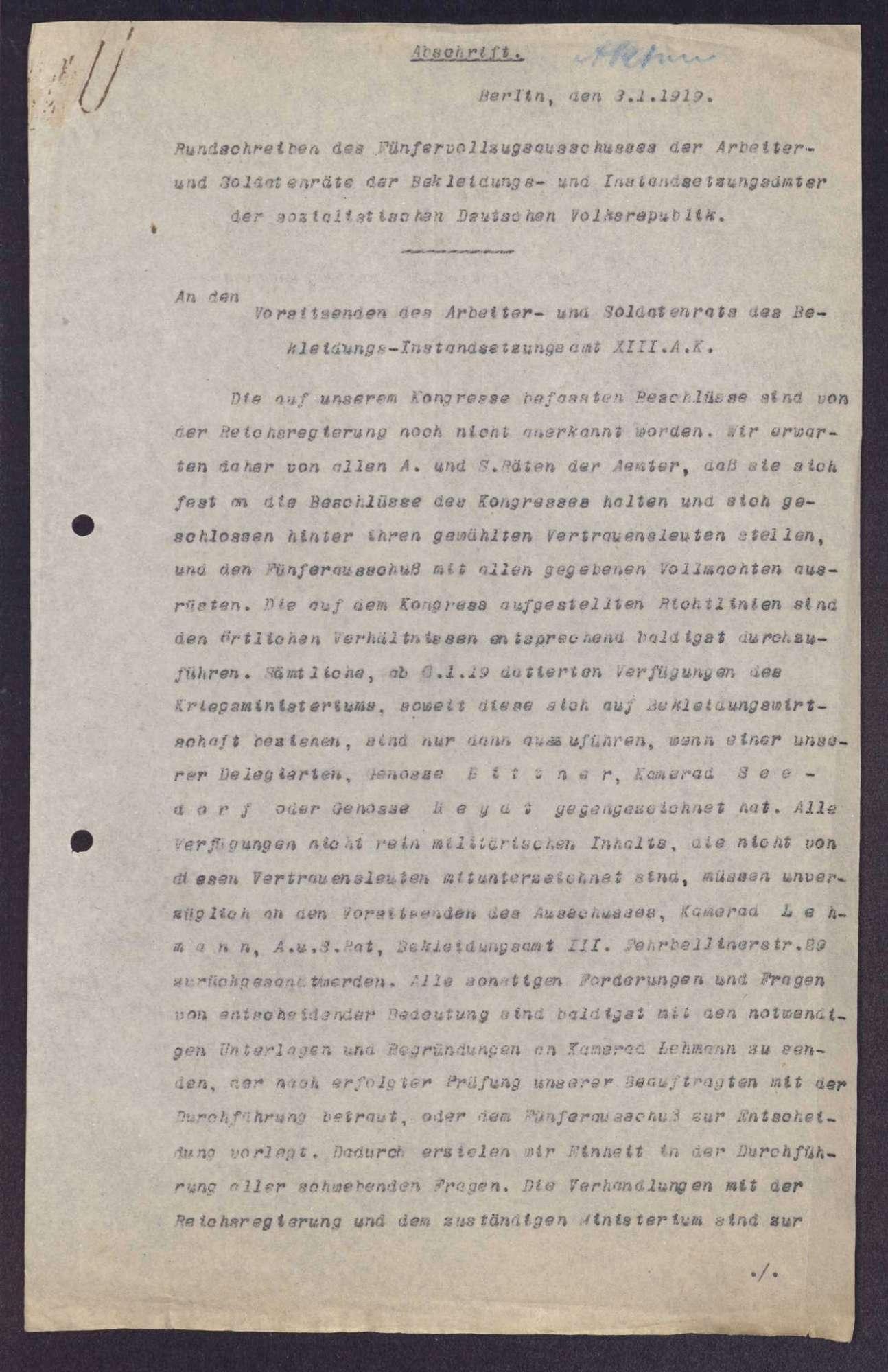 Beschlüsse des Kongresses der Arbeiter- und Soldatenräte der deutschen Bekleidungs- und Instandsetzungsämter in Berlin, Bild 1