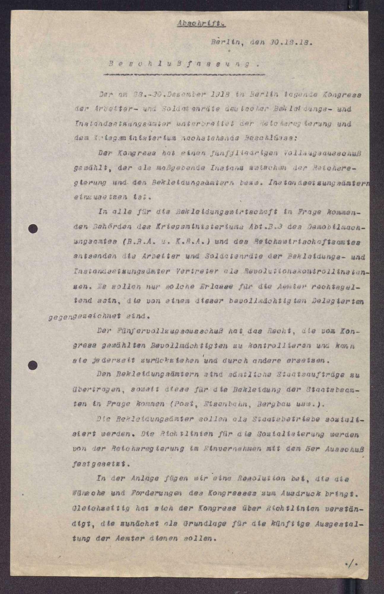 Beschlüsse des Kongresses der Arbeiter- und Soldatenräte der deutschen Bekleidungs- und Instandsetzungsämter in Berlin, Bild 2