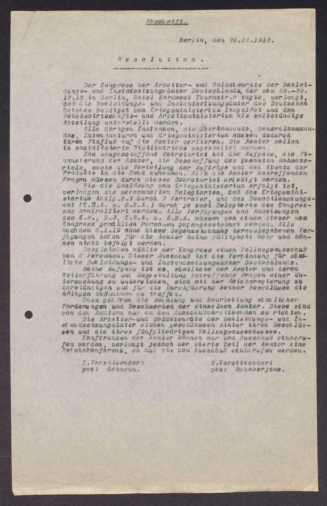 Beschlüsse des Kongresses der Arbeiter- und Soldatenräte der deutschen Bekleidungs- und Instandsetzungsämter in Berlin, Bild 3