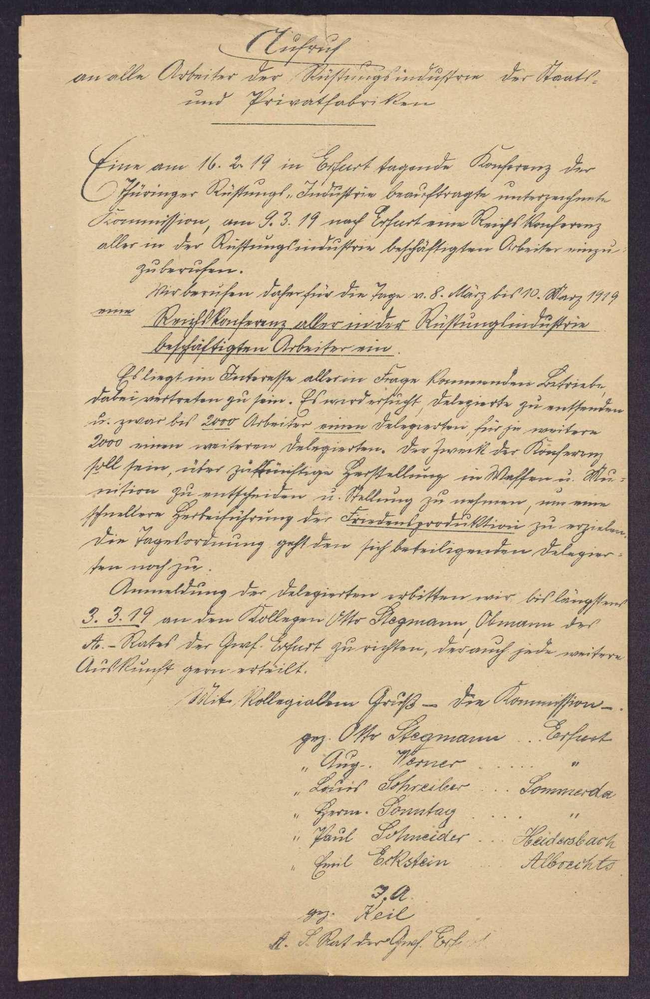 Einladung zur Reichskonferenz aller Arbeiterräte der Waffen- und Munitionsfabriken Deutschlands in Erfurt, Bild 1