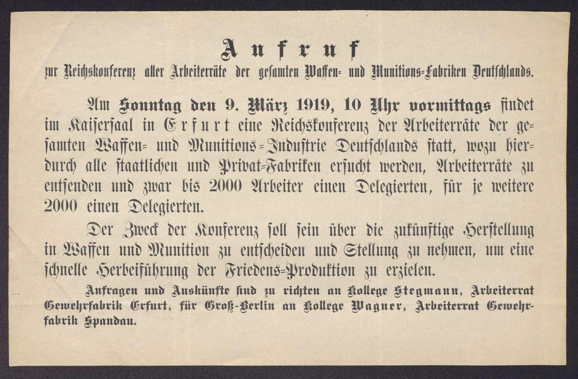Einladung zur Reichskonferenz aller Arbeiterräte der Waffen- und Munitionsfabriken Deutschlands in Erfurt, Bild 2