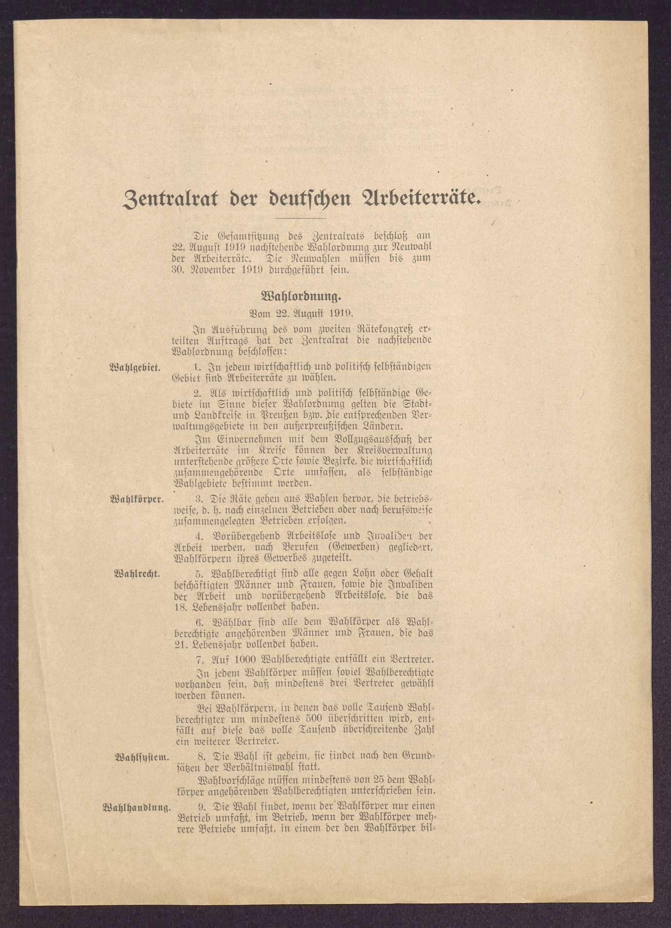 Wahlordnung und Organisationsstatut des Zentralrats der deutschen Arbeiterräte, Bild 1