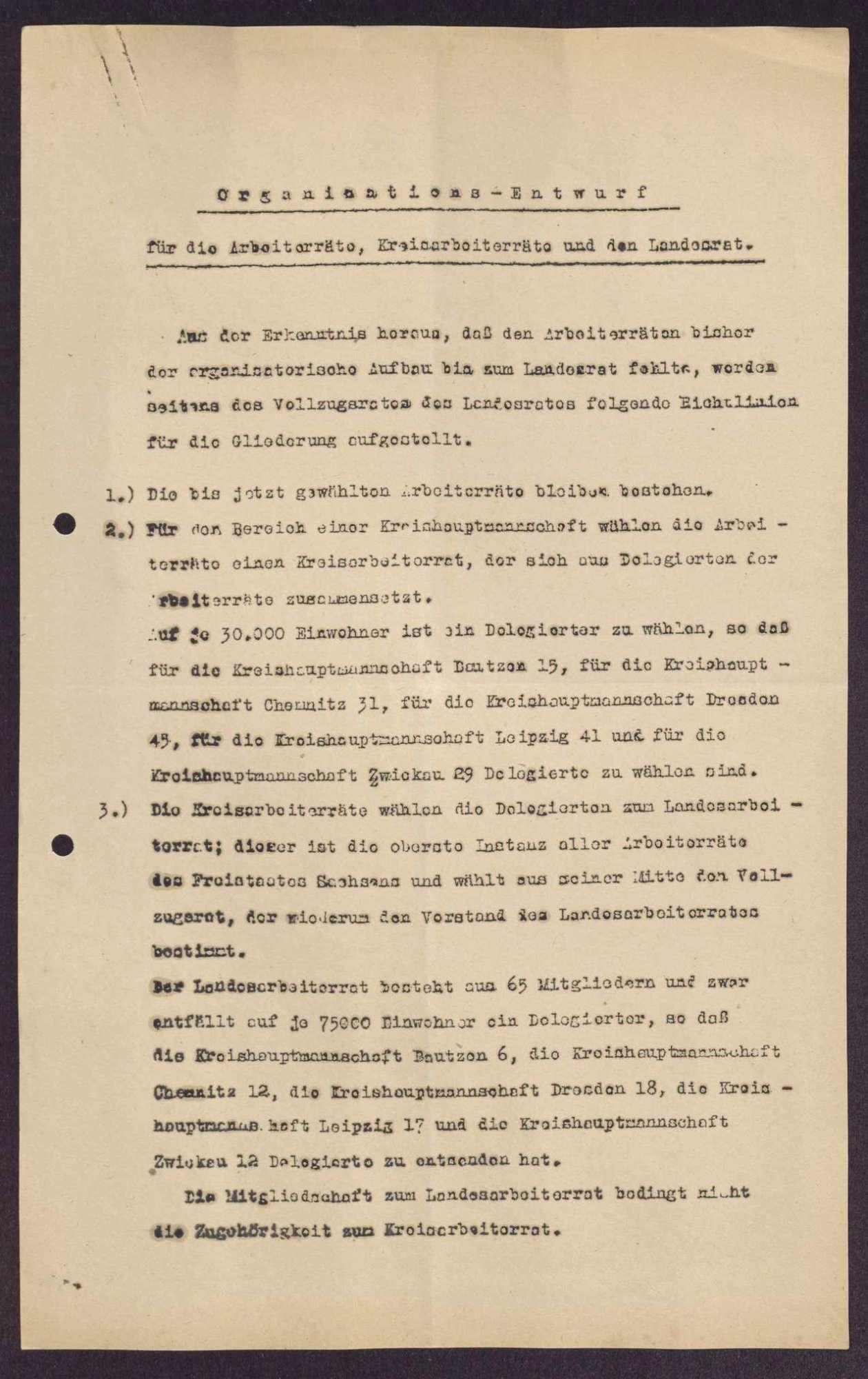 Organisationsentwurf für die Arbeiterräte, Kreisarbeiterräte und den Landessrat in Sachsen, Bild 1