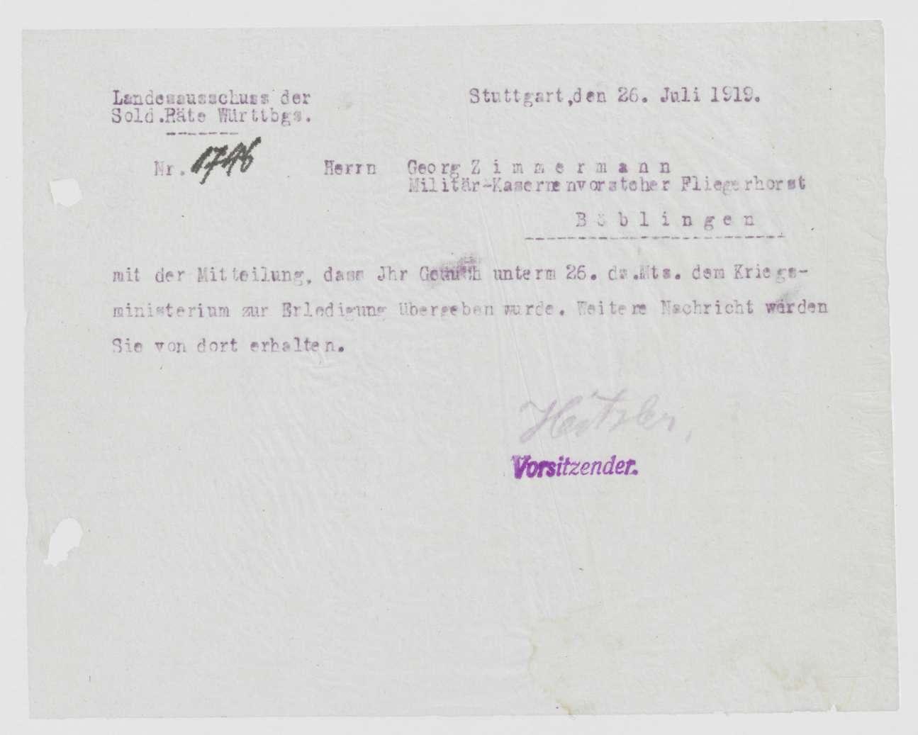 Garnisonsrat Böblingen: Zusendung von Ausweiskarten, Entlassung von Mitgliedern, Bild 2