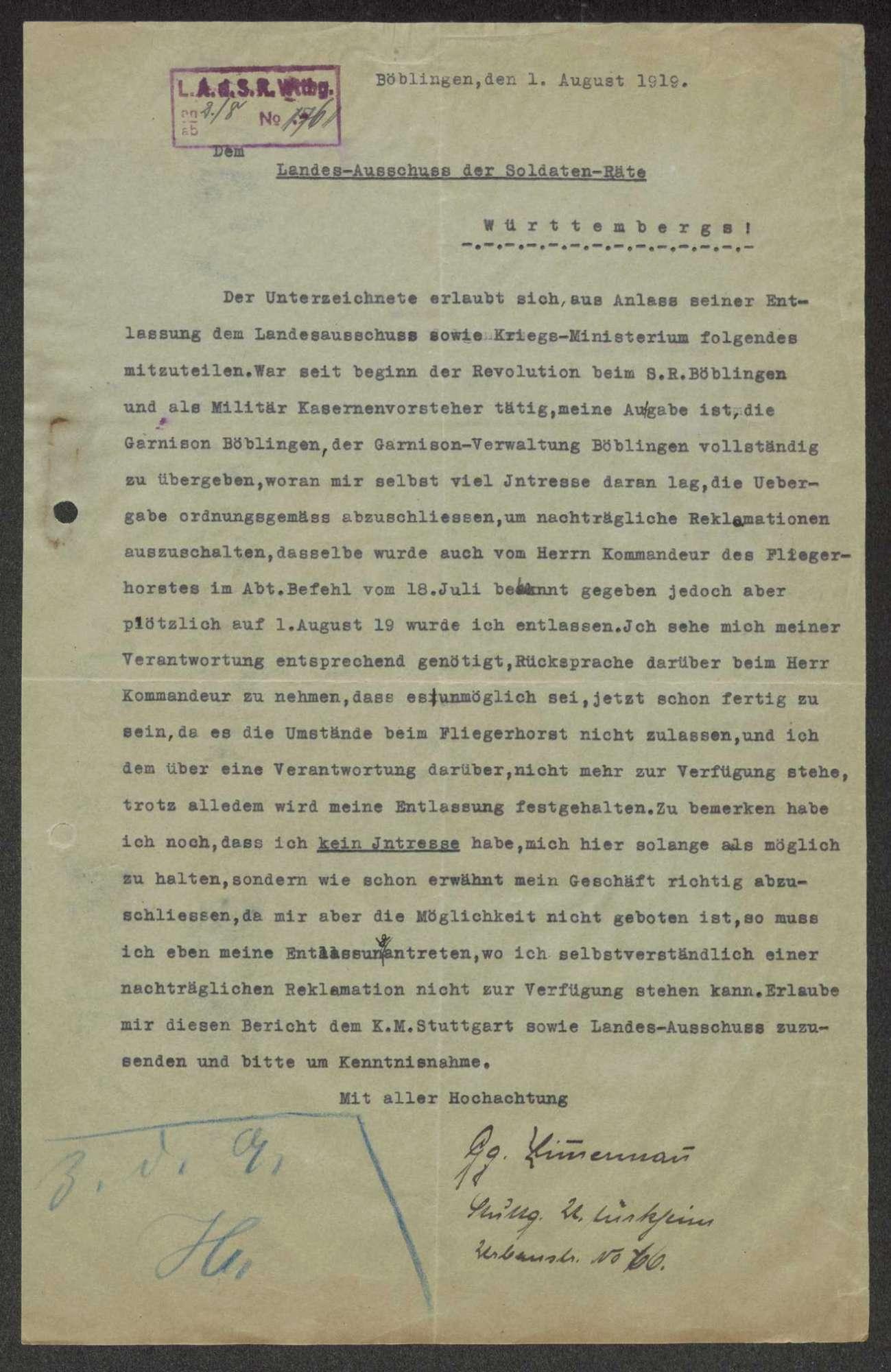 Garnisonsrat Böblingen: Zusendung von Ausweiskarten, Entlassung von Mitgliedern, Bild 3