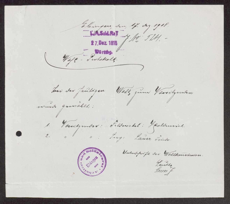 Garnisonsrat Ebingen: Wahl und Zusammensetzung, Bild 1