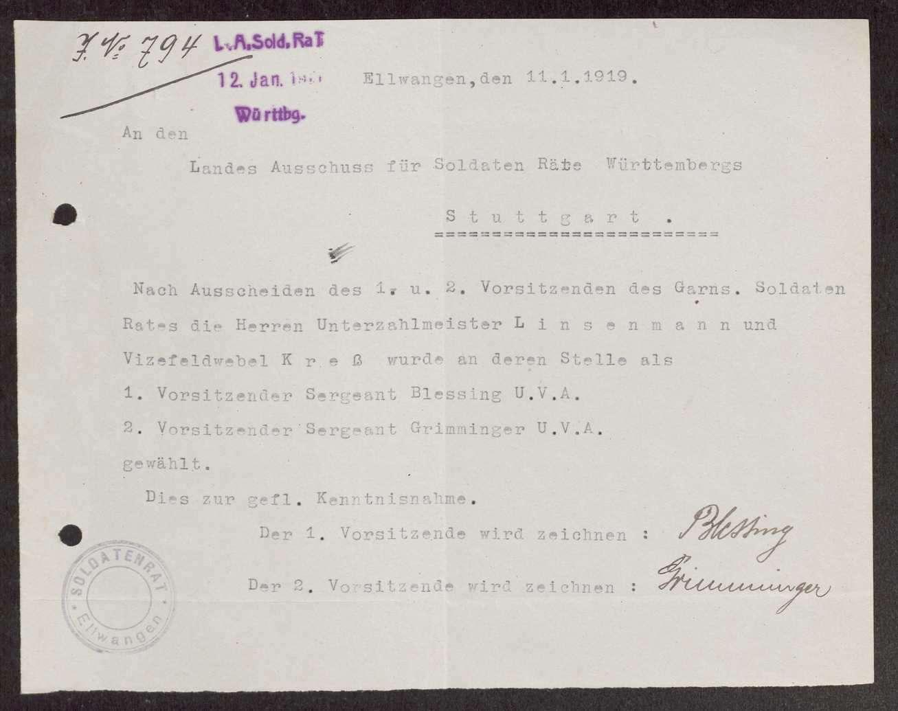 Garnisonsrat Ellwangen: Bildung, Wahl und Zusammensetzung, Aufhebung, Bild 1