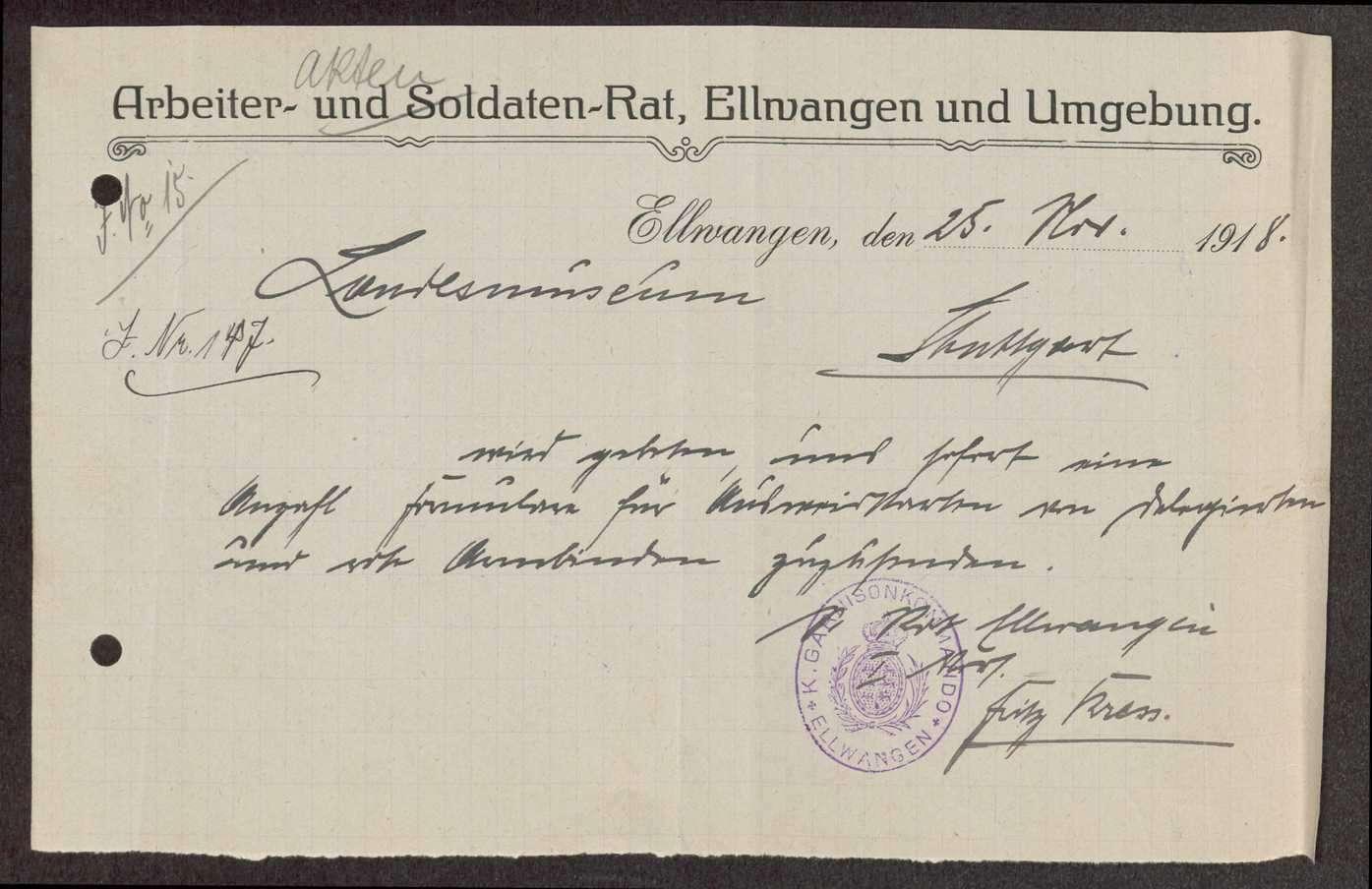 Garnisonsrat Ellwangen: Bildung, Wahl und Zusammensetzung, Aufhebung, Bild 2