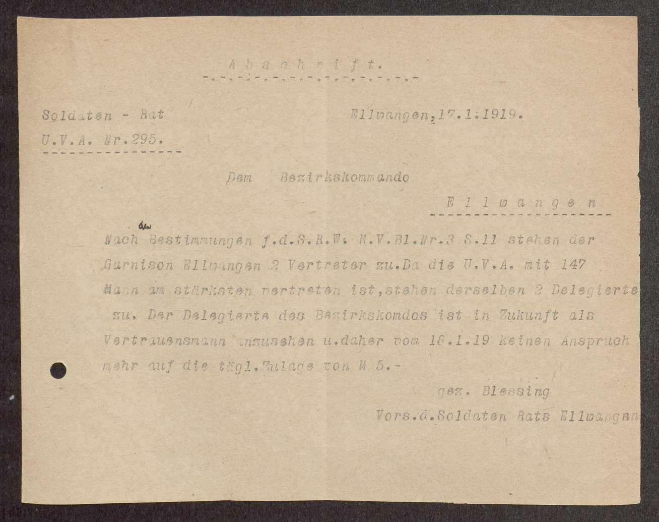 Garnisonsrat Ellwangen: Bildung, Wahl und Zusammensetzung, Aufhebung, Bild 3