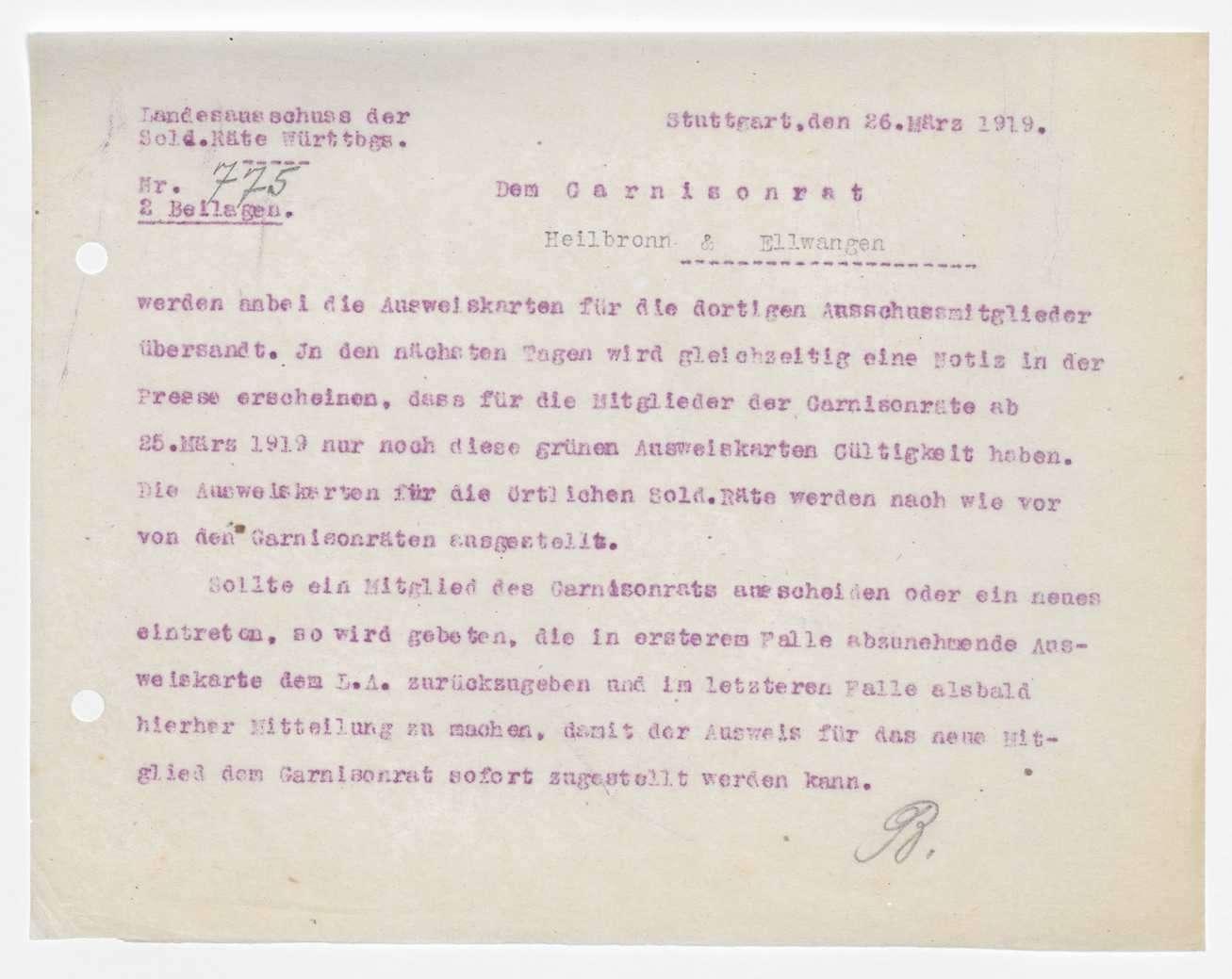Garnisonsrat Heilbronn: Wahlen und Zusammensetzung, Unterstellung der Garnison Mergentheim, Bild 2