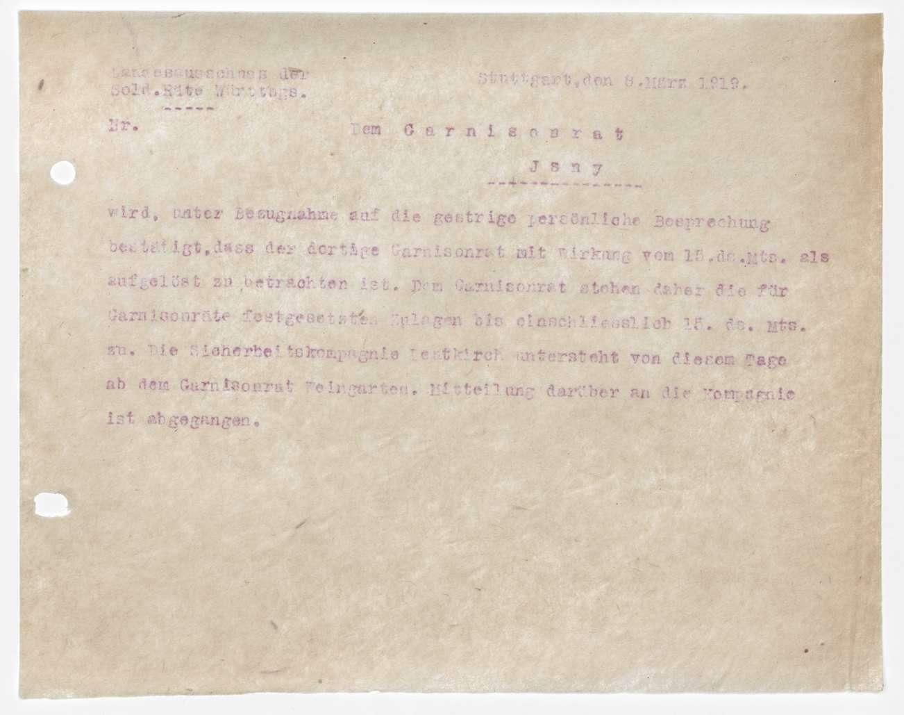 Garnisonsrat Isny: Organisation, Aufhebung, Bild 3