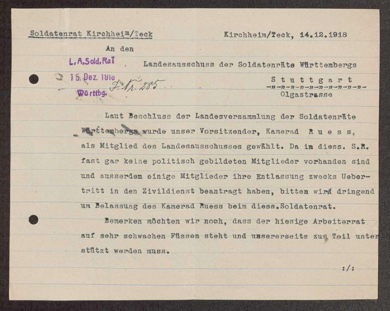 Soldatenrat Kirchheim: Zusammensetzung, Aufhebung, Bild 2